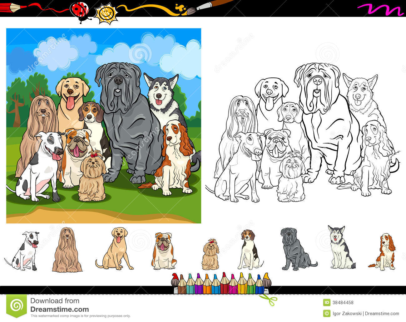 Dog Breeds Cartoon Coloring Page Set Stock Vector - Illustration of ...