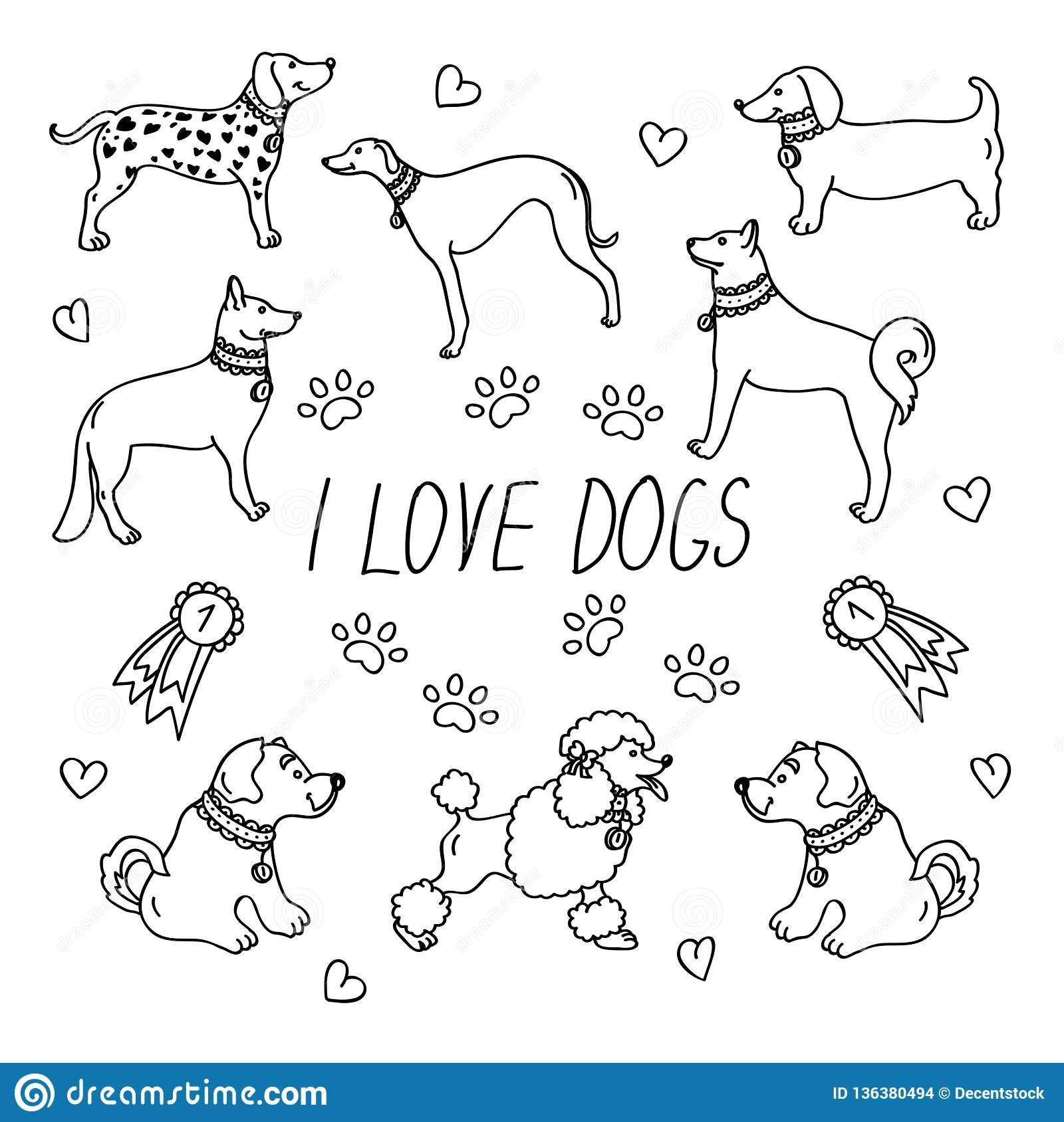 Dog breeds. Set with the inscription I love dogs