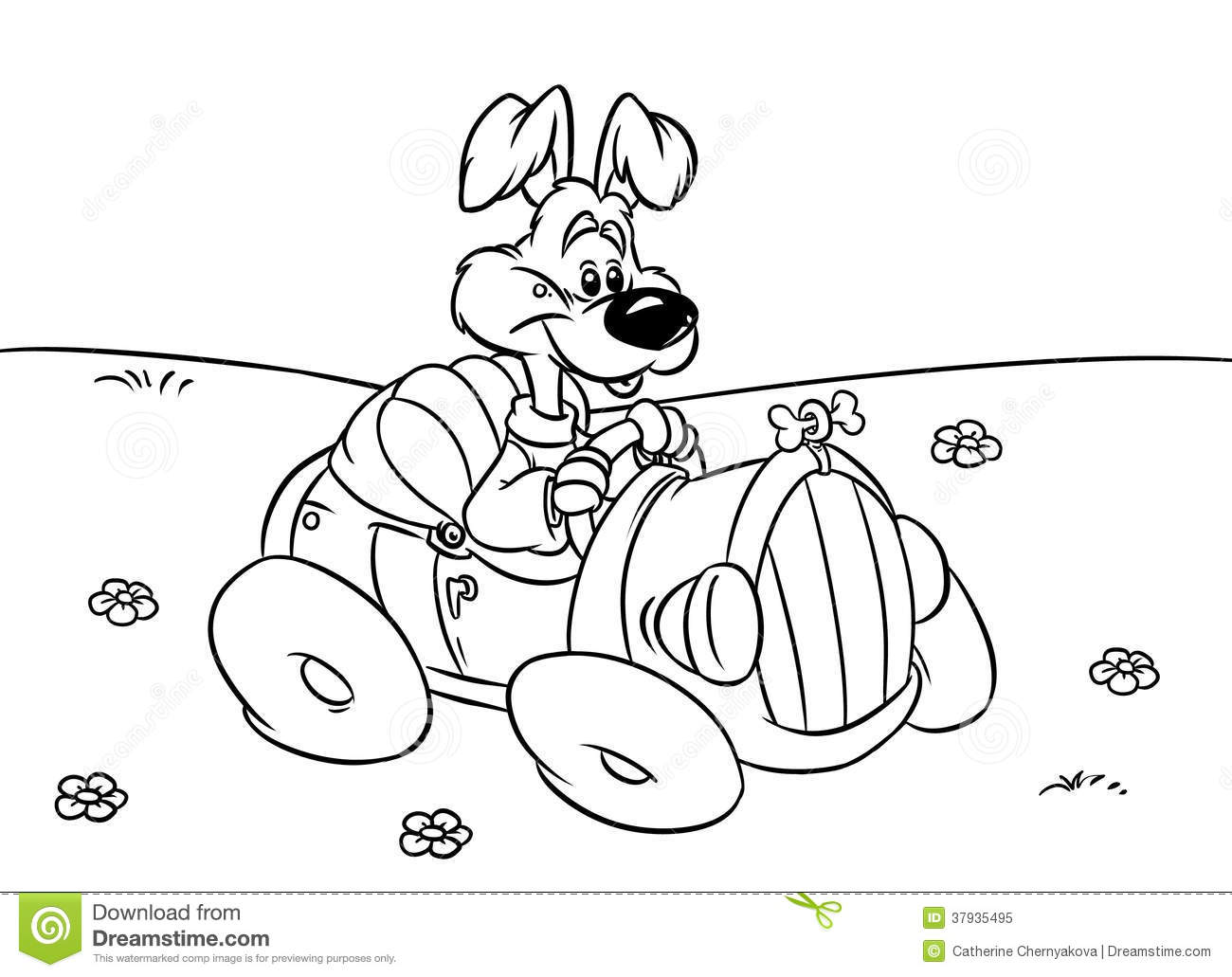 Dog Car Driver Illustration Coloring Pages Stock