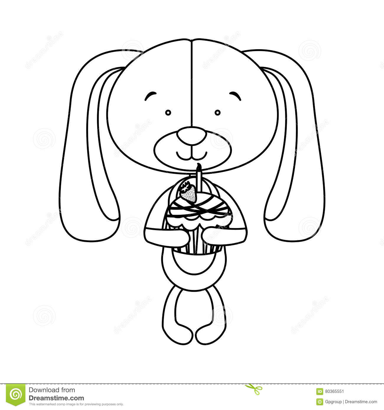 Dog Cartoon Character Holding Birthday Cake Icon Image Illustration Design