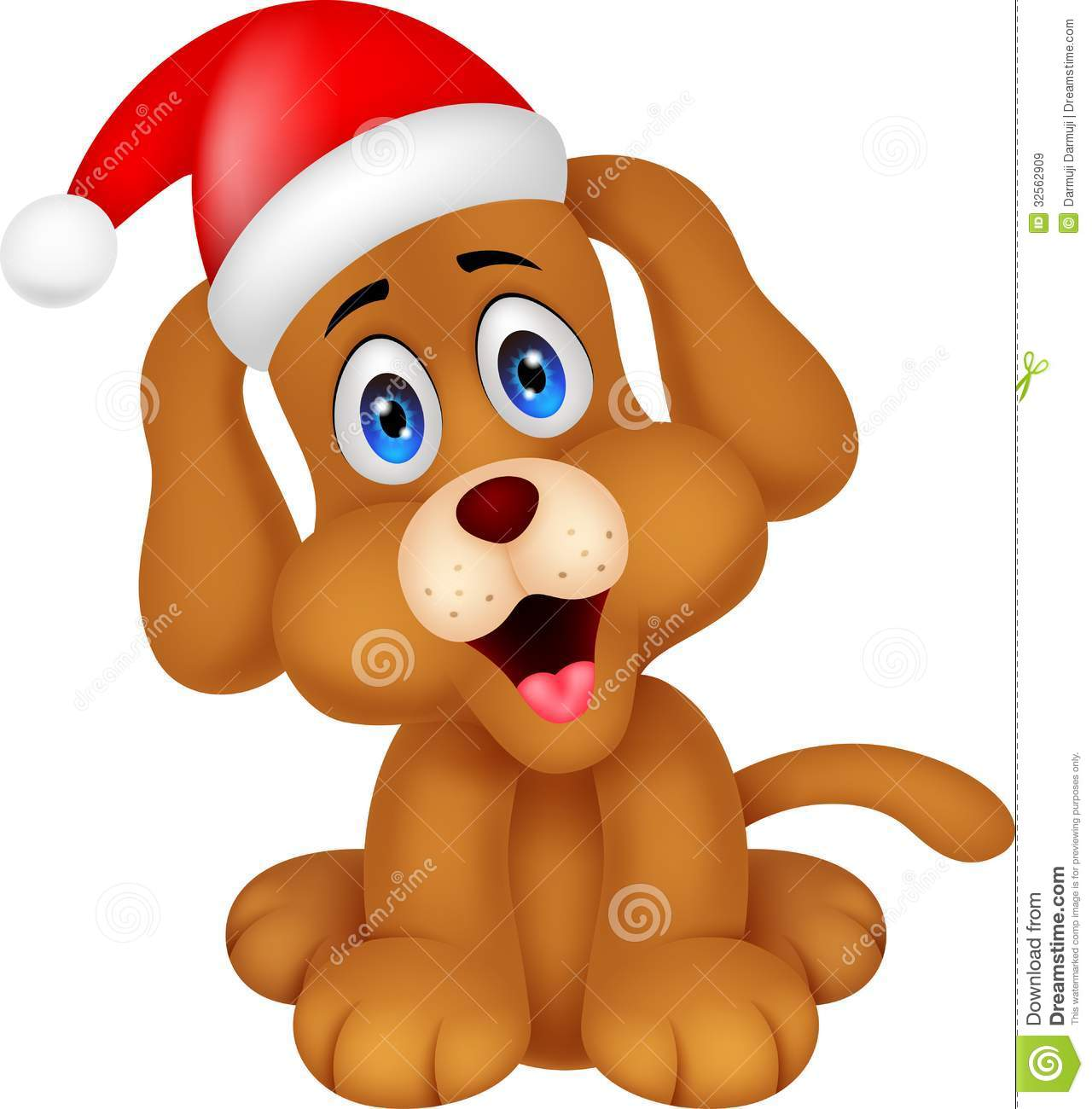 dog cartoon with christmas red hat - Christmas Cartoon Pictures