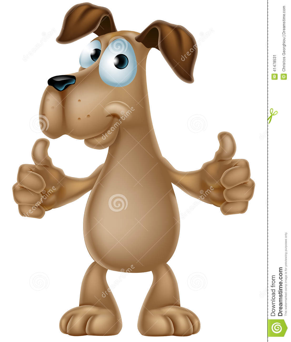 An illustration of a cute cartoon dog mascot character giving a thumbs ...