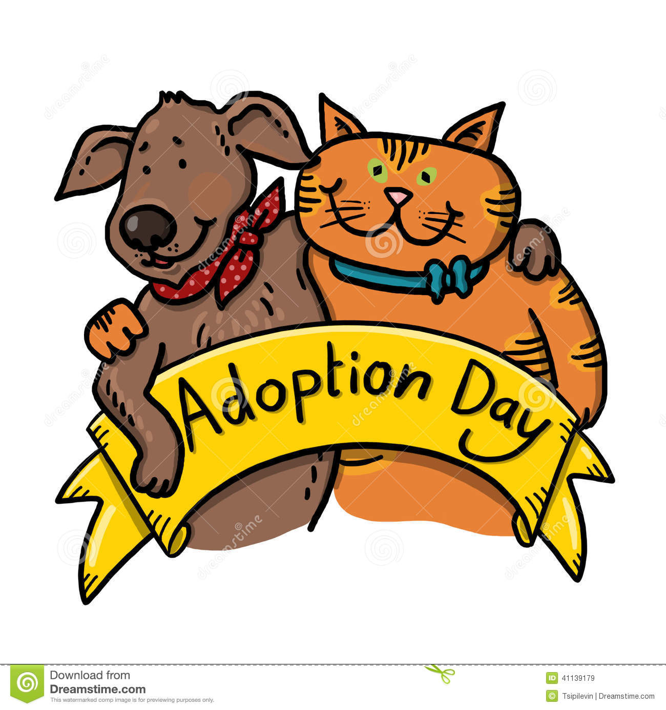 Dog And Cat For Adoption Illustration Stock Illustration Image