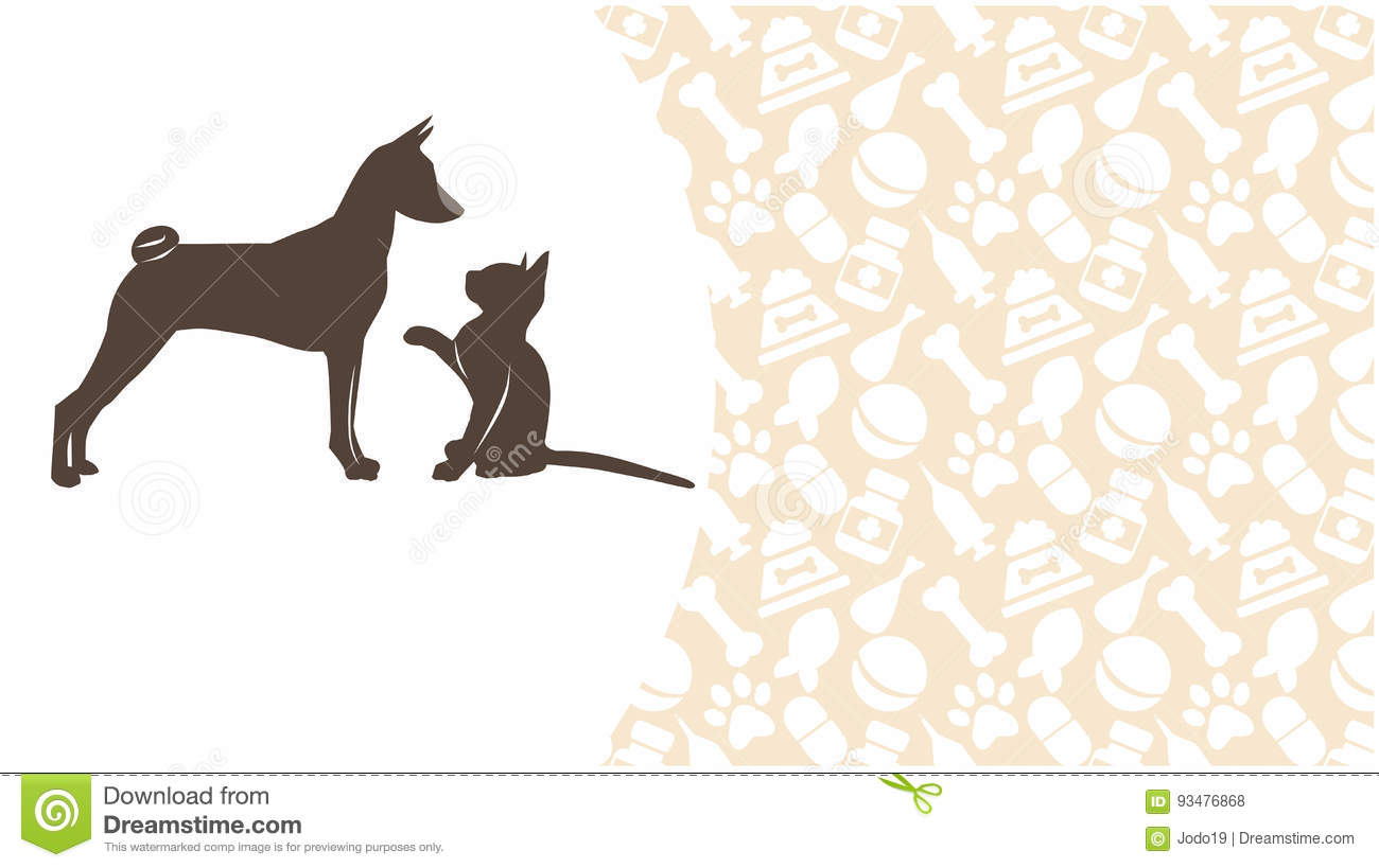 Dog And Cat On The Background Stock Illustration