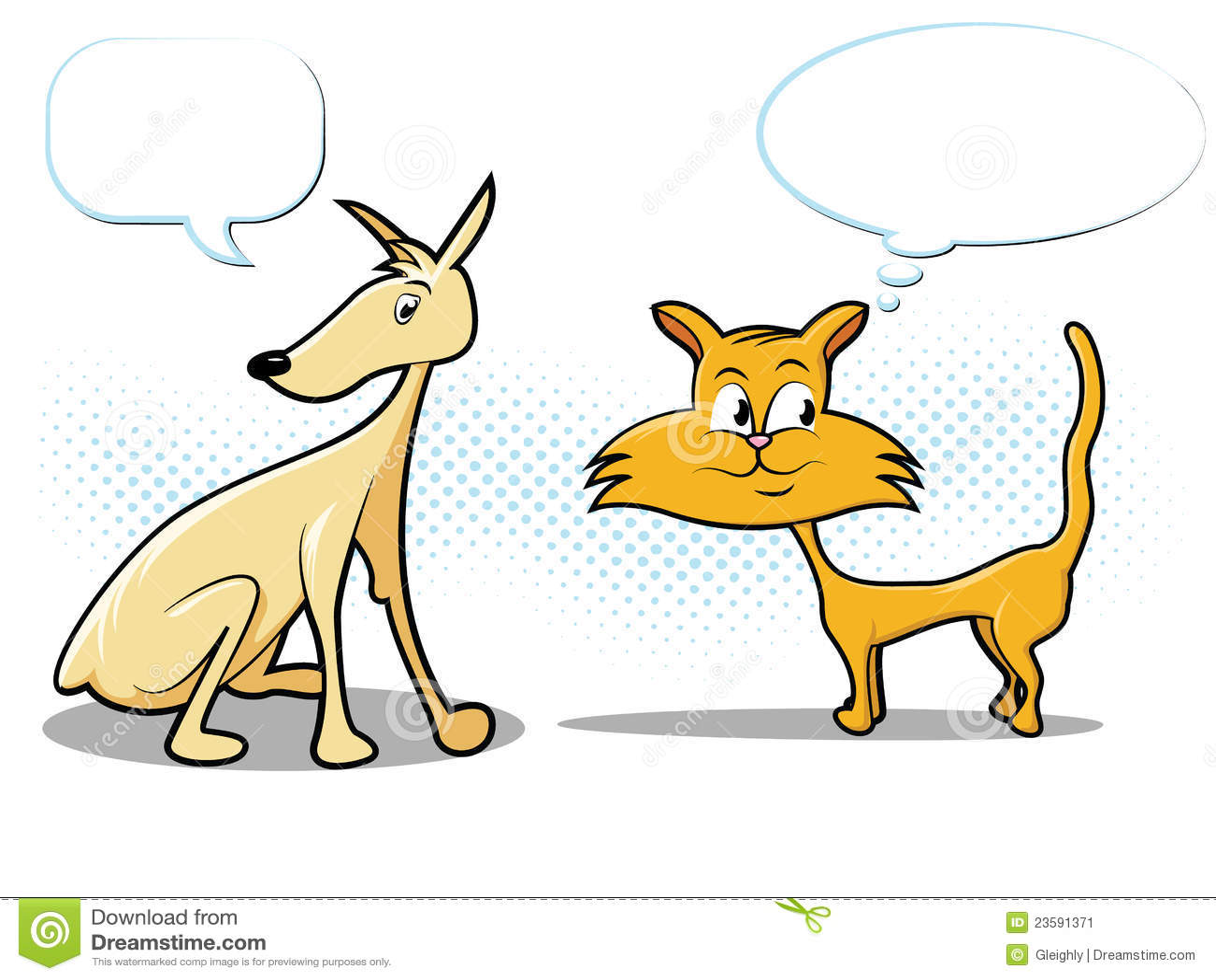Dog And Cat Cartoon Stock Image - Image: 23591371