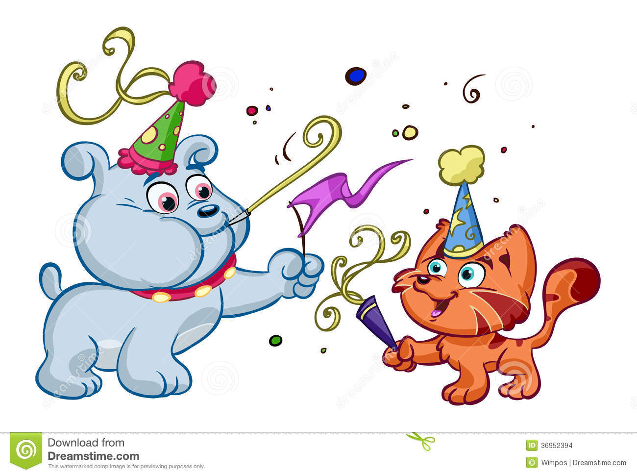 Dog and cat enjoying party stock vector. Illustration of graphical - 36952394