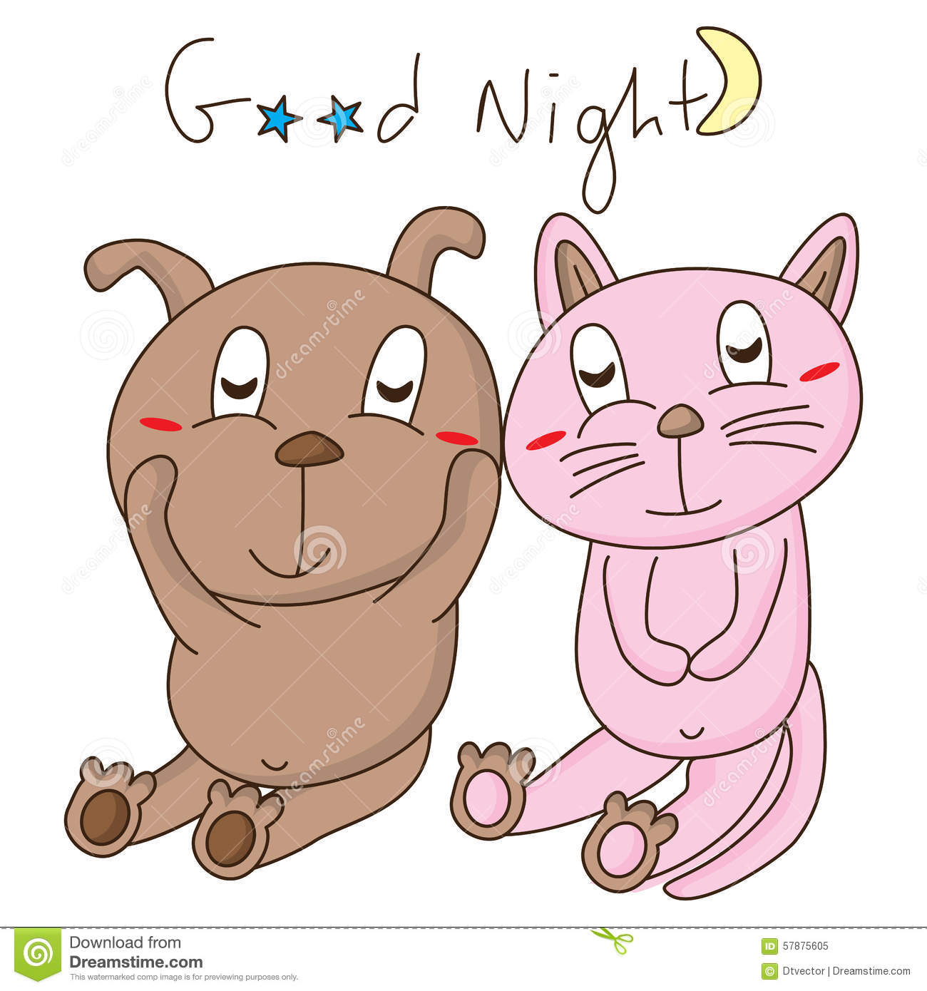 Dog Cat Good Night Stock Vector Image 57875605