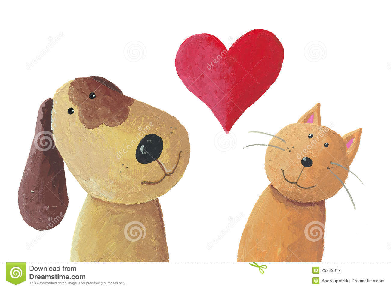 Animal Print Bedrooms Dog And Cat In Love Stock Illustration Image Of Symbol