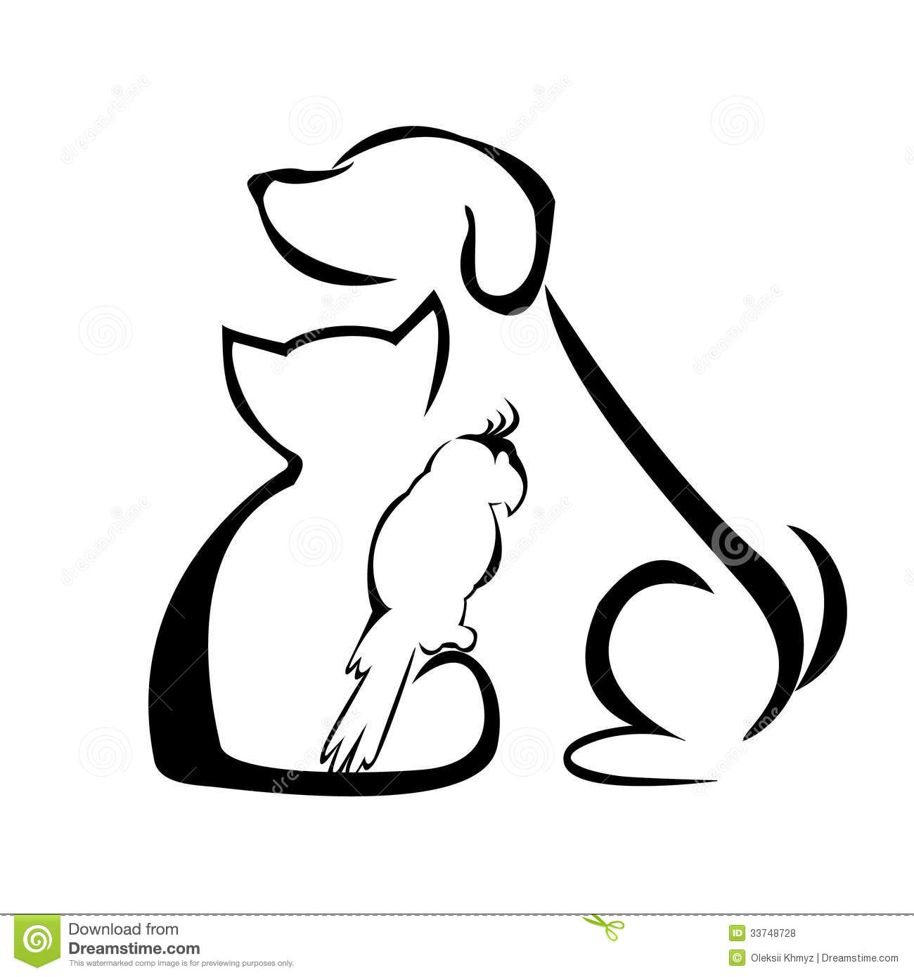 Line Art Dog Tattoo : Royalty free stock photos dog cat and parrot image