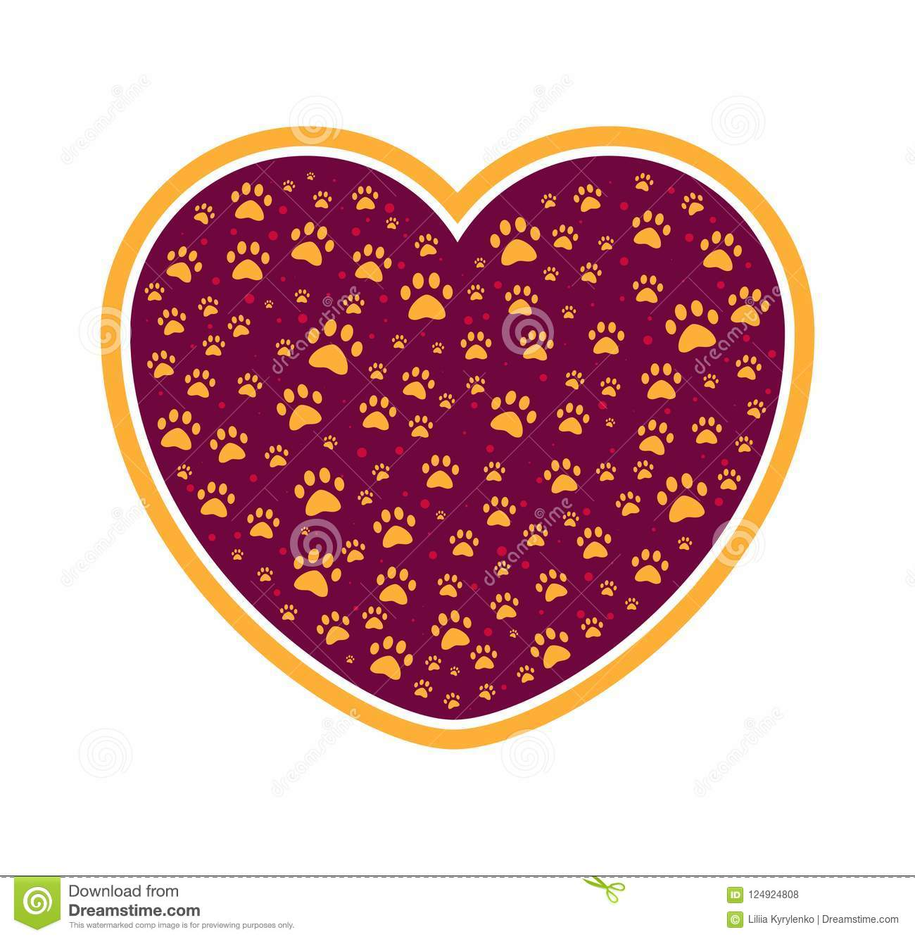 Dog Or Cat Paw In Heart Pet Care Love Icon Protection Of Animal