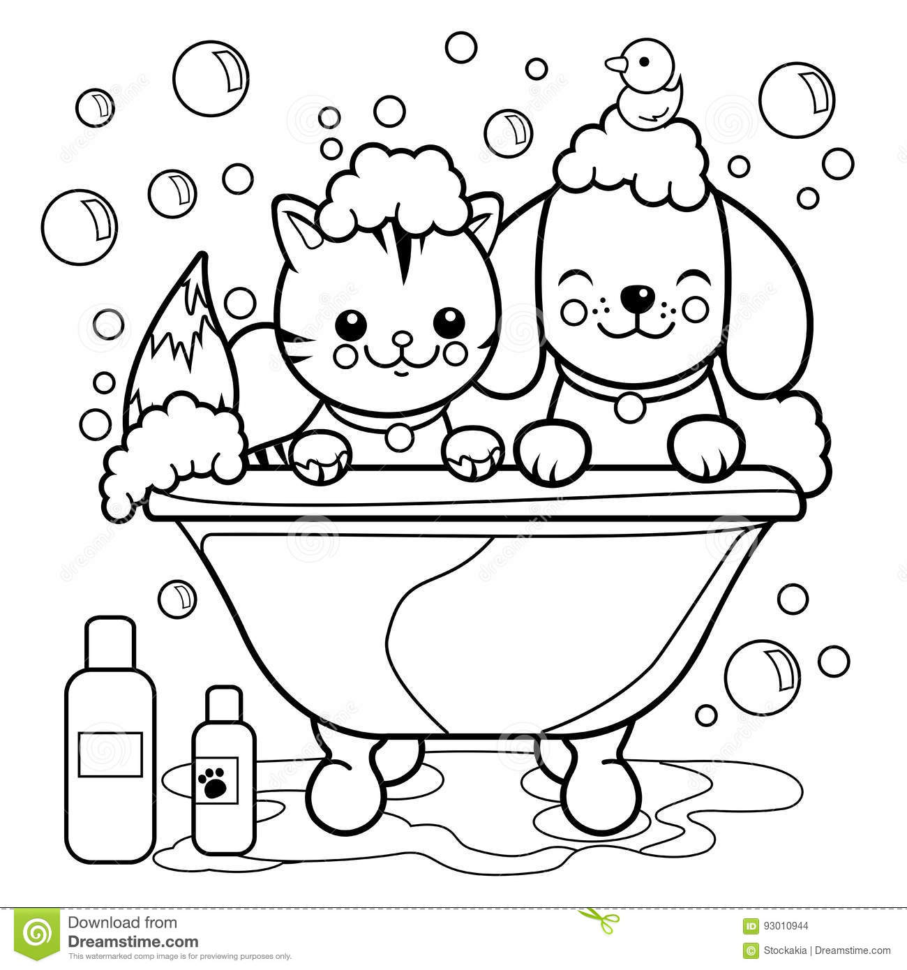Dog And Cat Taking A Bath. Coloring Book Page. Stock Vector ...