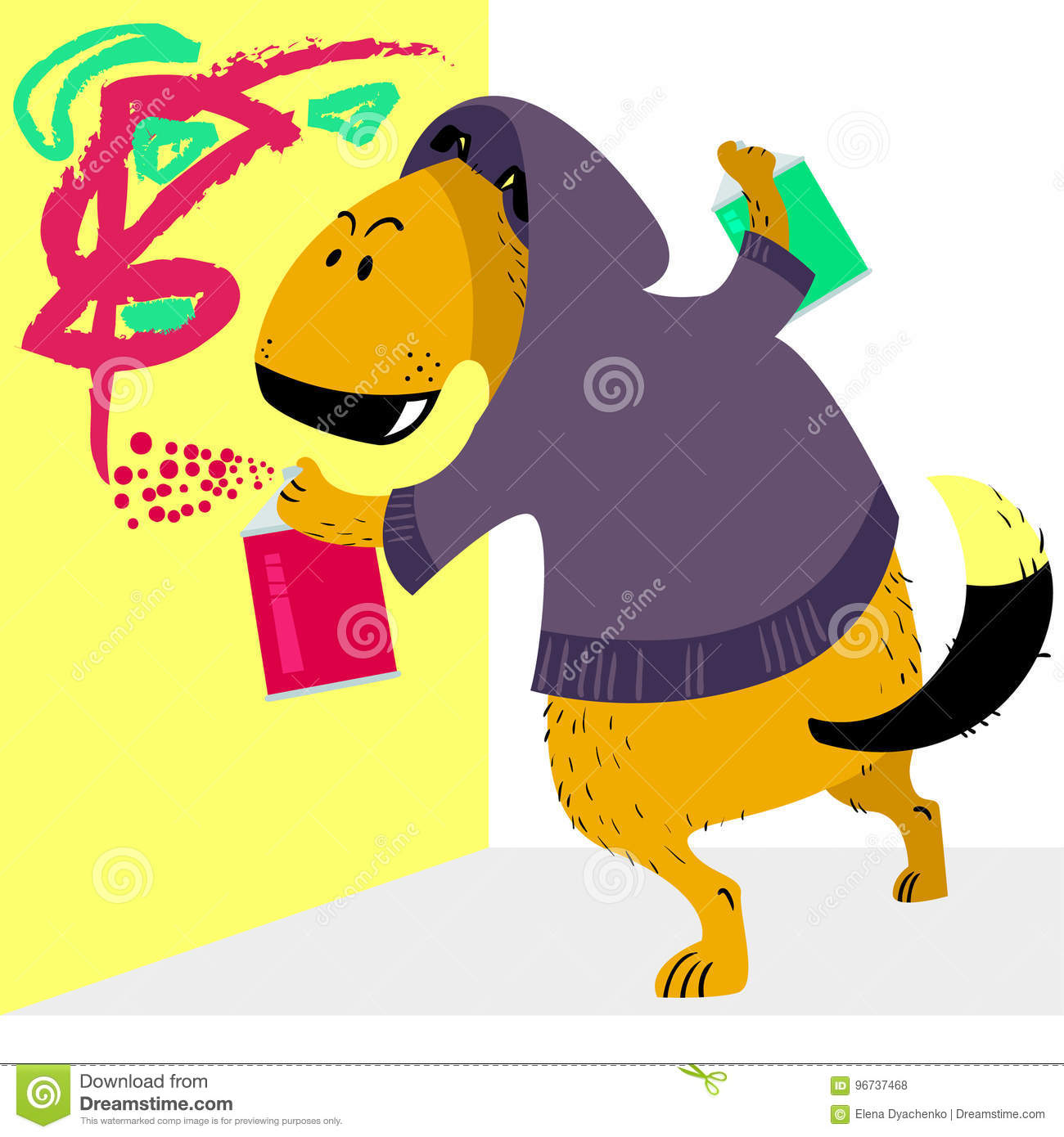 Dog Character As Graffiti Artist. Pet With A Spray Paints A Wall ...