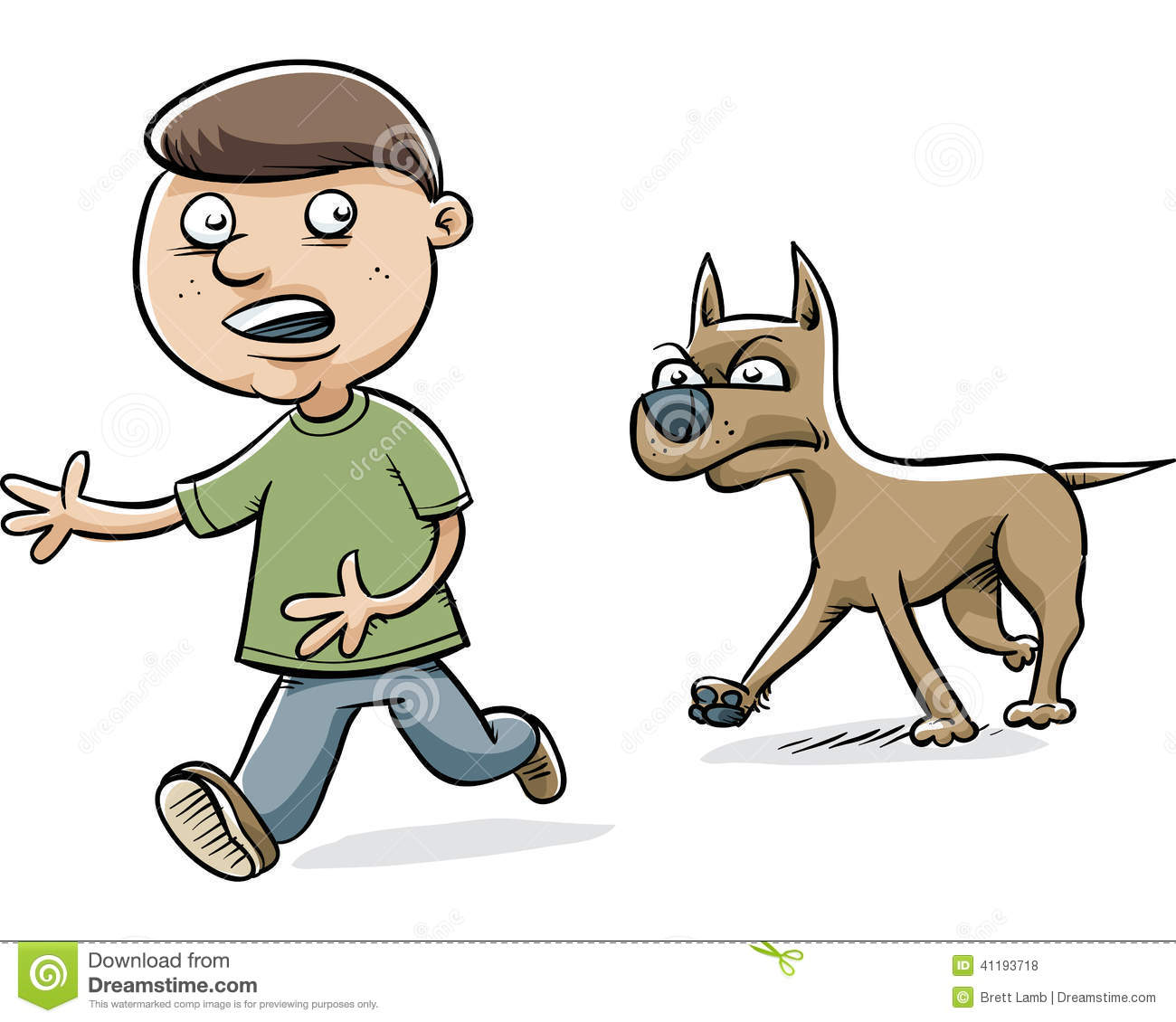 Dog Chasing Boy Stock Illustration - Image: 41193718