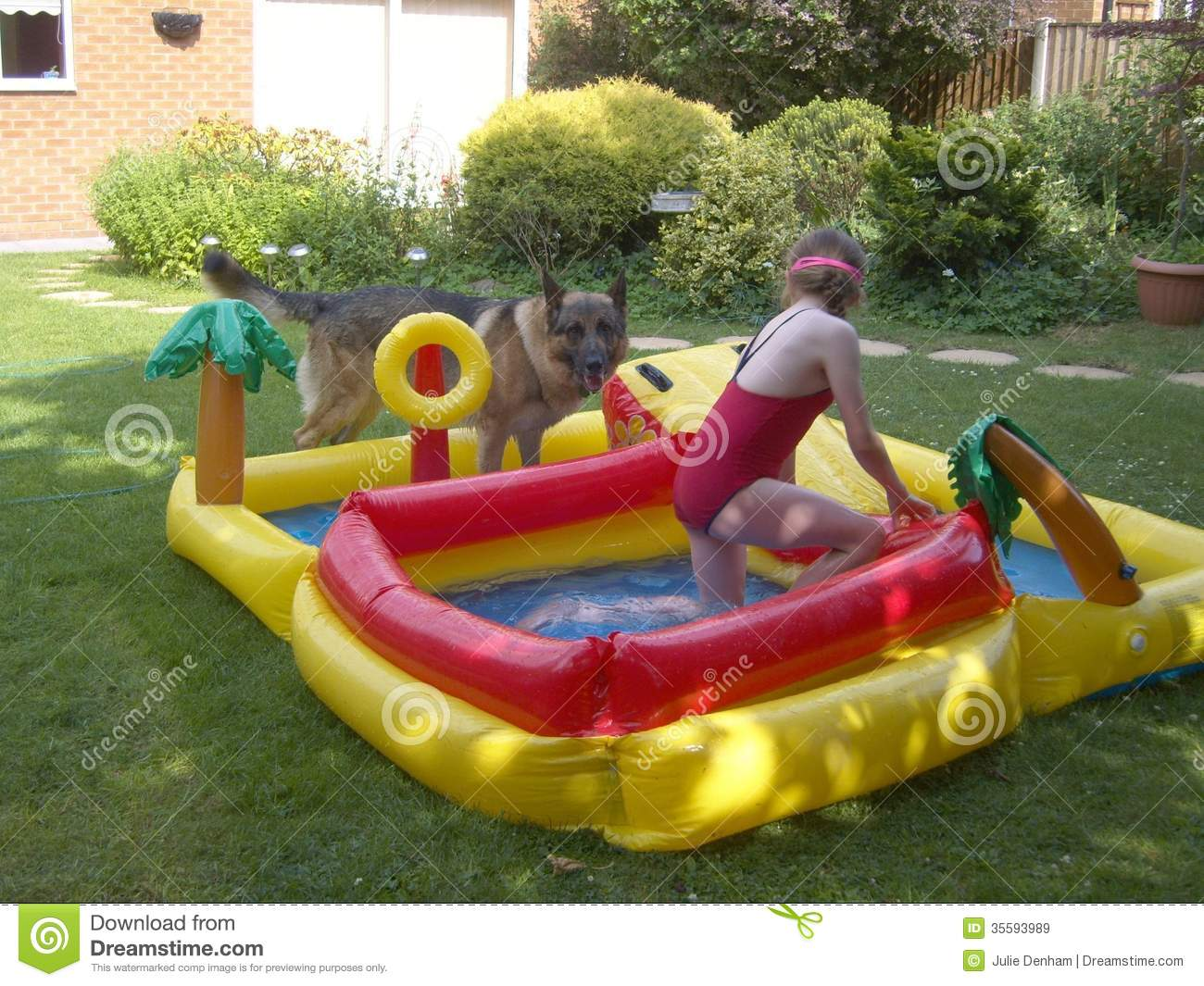 Dog and child playing in water stock image image 35593989 for Best children s paddling pool