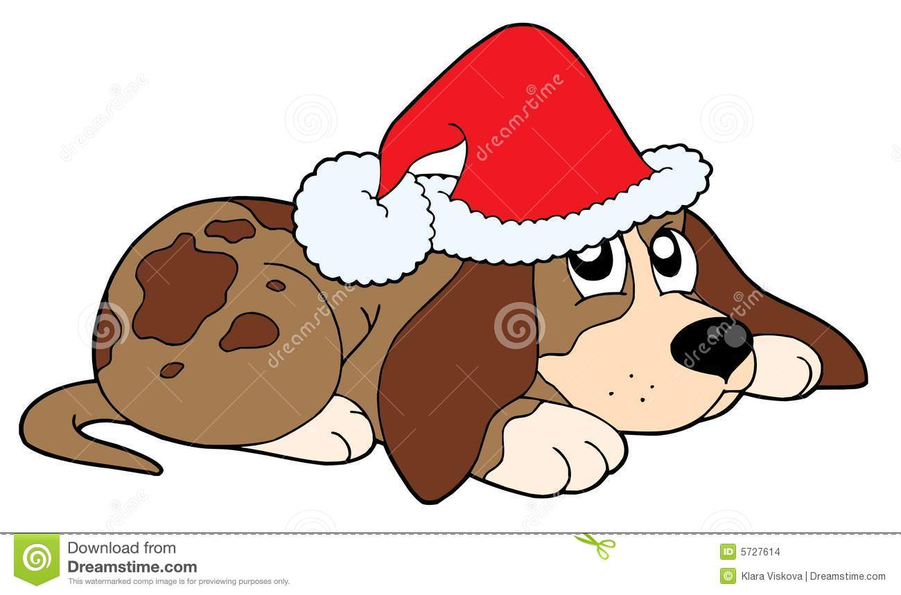 Dog in Christmas cap vector