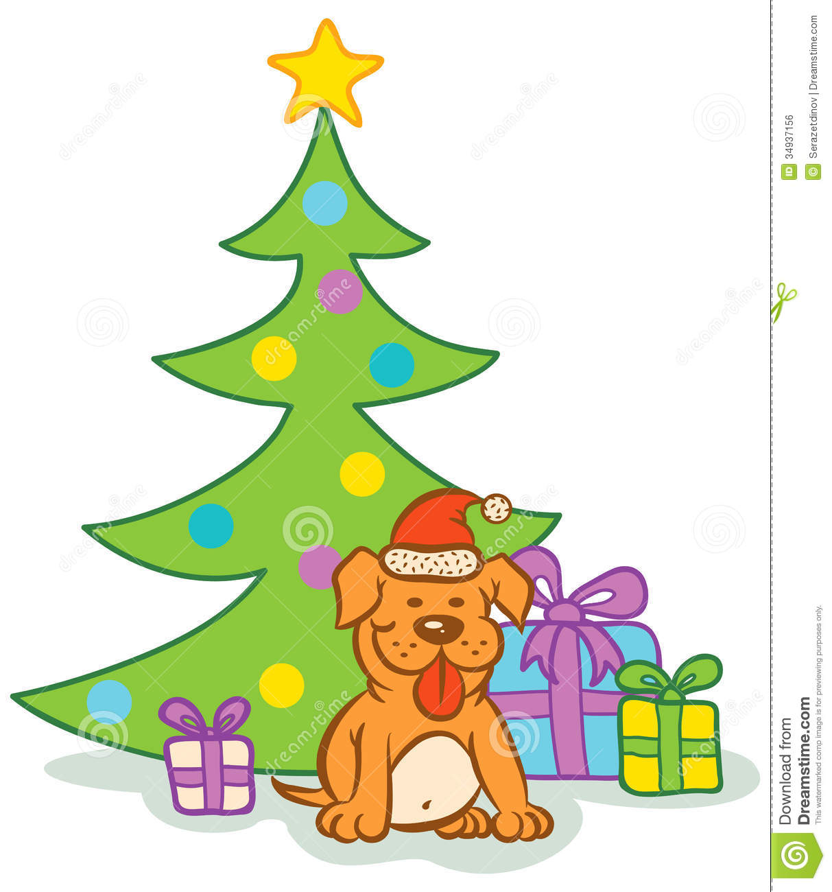 Free Clipart Christmas Tree With Presents Dog And Christma...