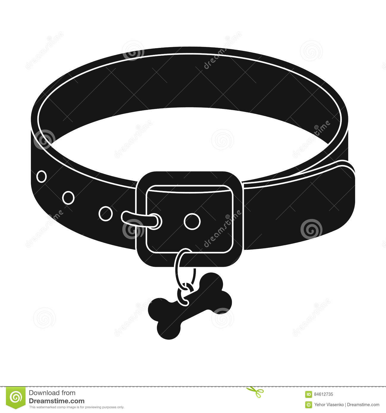 Dog Collar Icon In Black Style Isolated On White