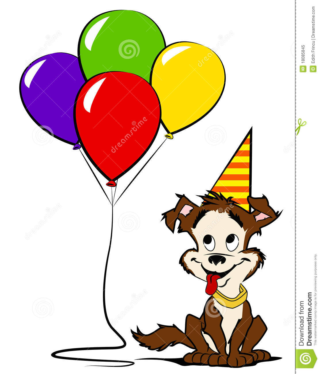 Dog With Colored Balloons And Party Hat Stock Illustration