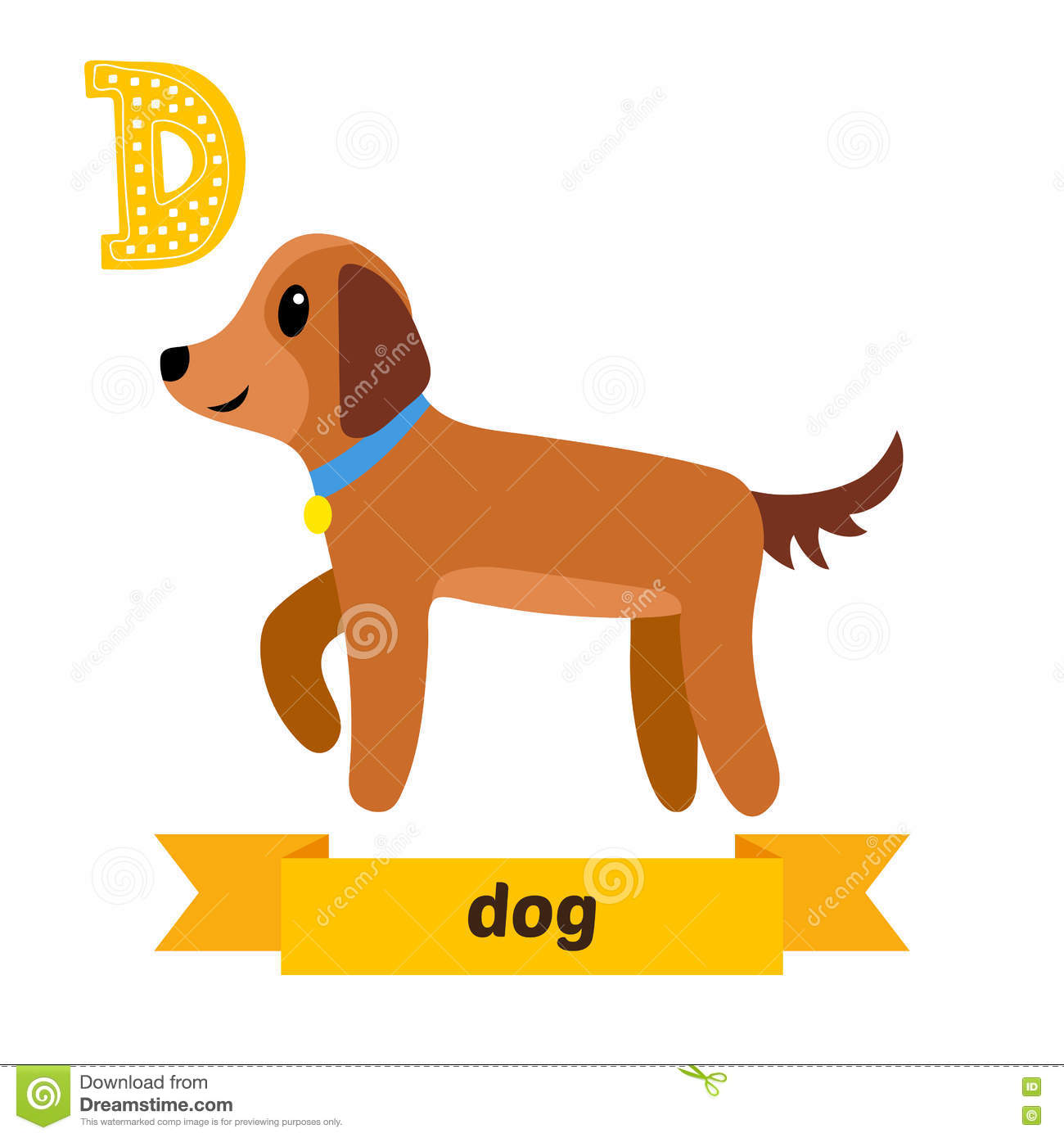 b774b6144 D letter. Cute children animal alphabet in vector. Funny cartoon animals.  Vector illustration