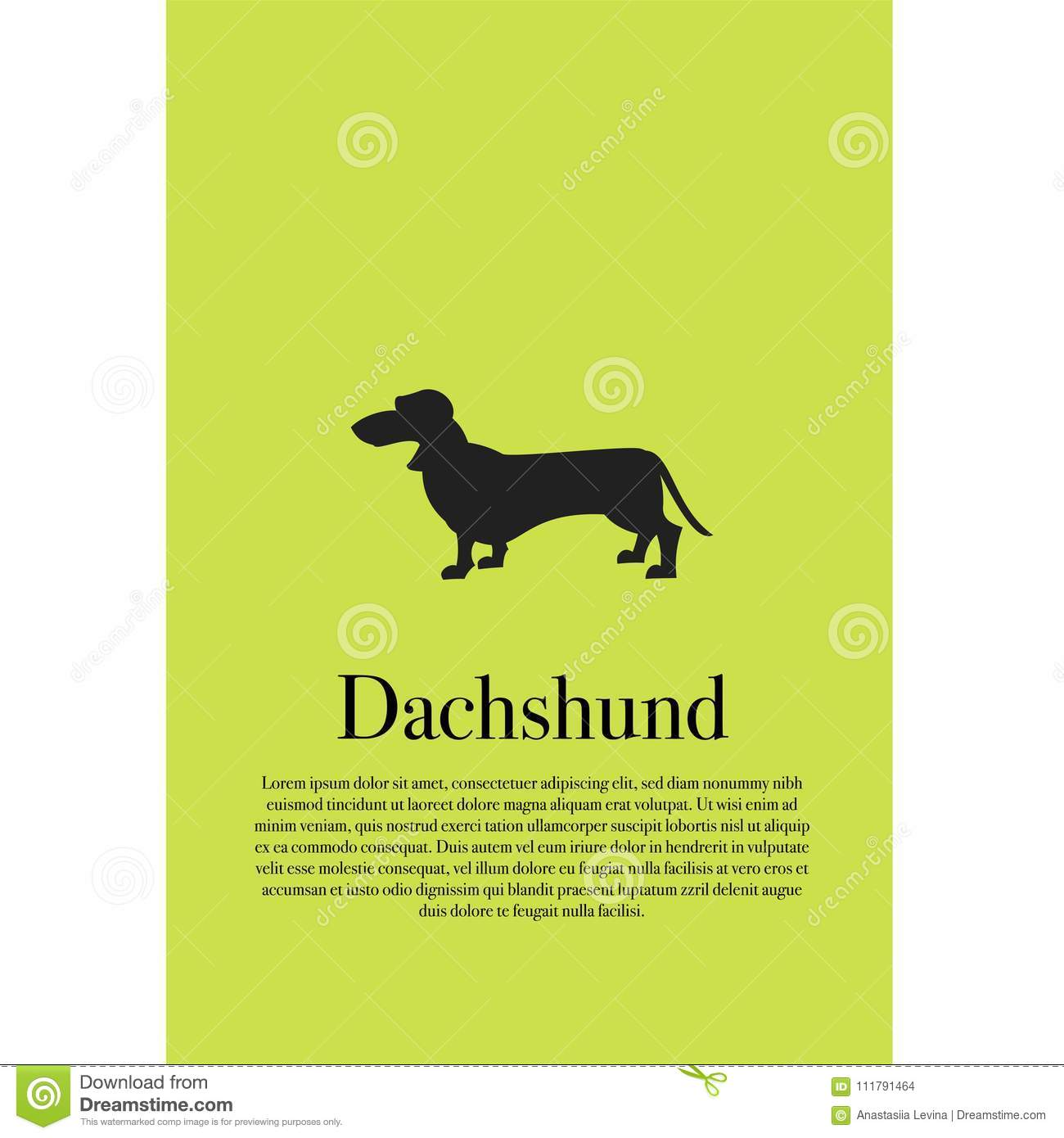 Dog Dachshund Silhouette Poster Stock Vector - Illustration