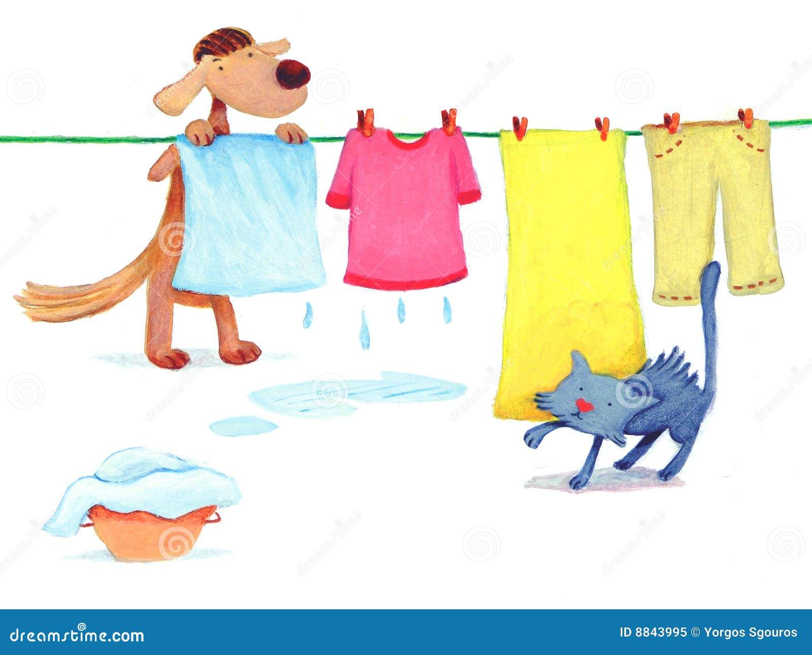 Dog Doing Laundry Royalty Free Stock Photo - Image: 8843995