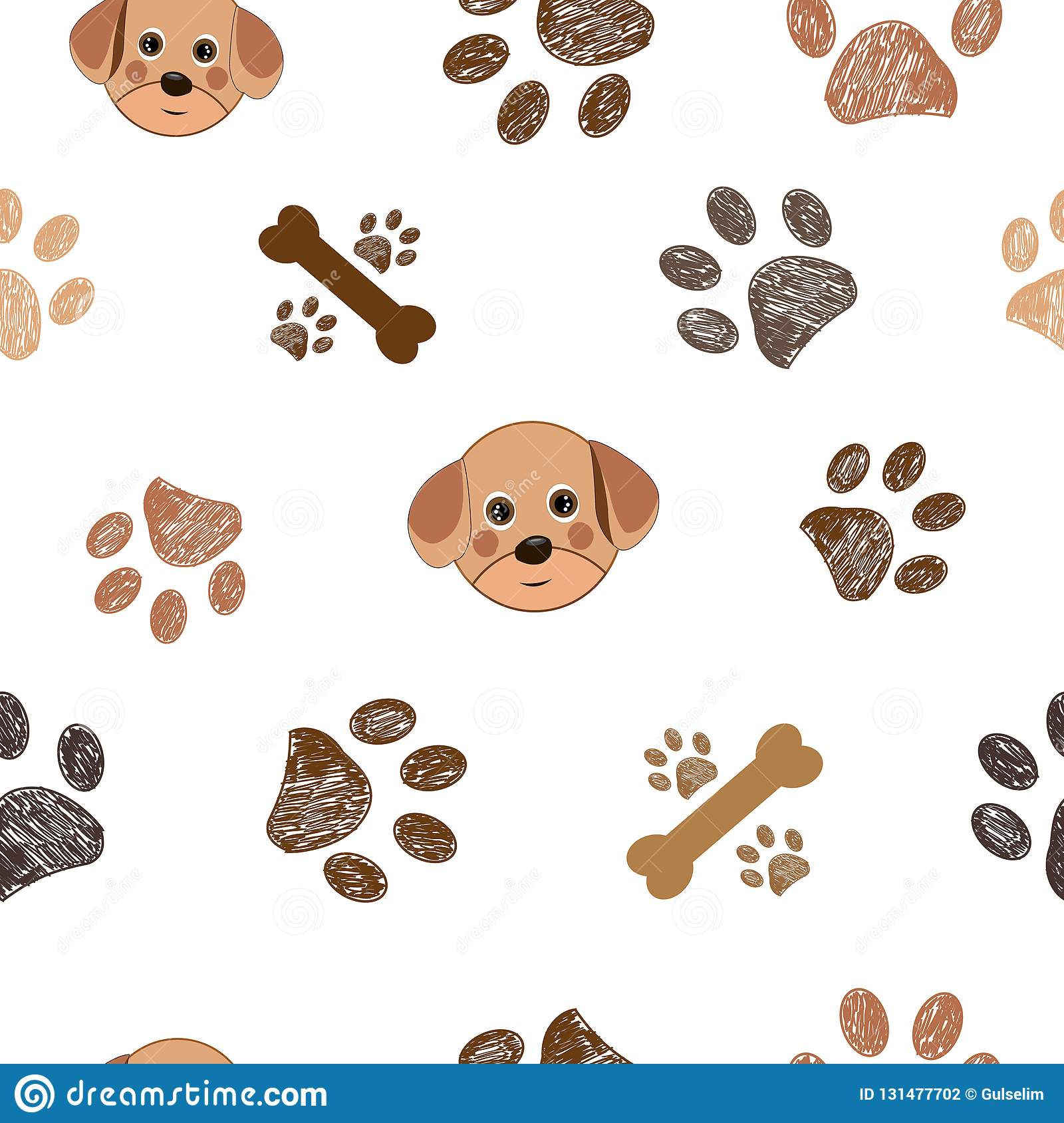 efbcefa8aab5 Dog And Doodle Paw Prints And Bones Paws Pattern Stock Vector ...