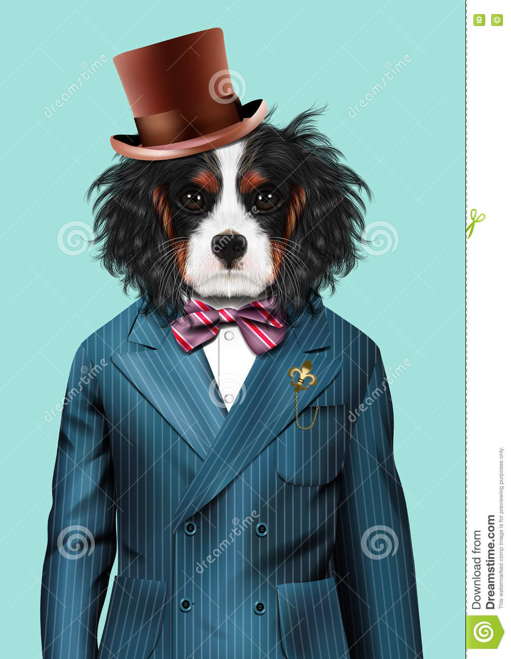Dog Dressed Up In Blue Tuxedo And Hat Stock Illustration ...