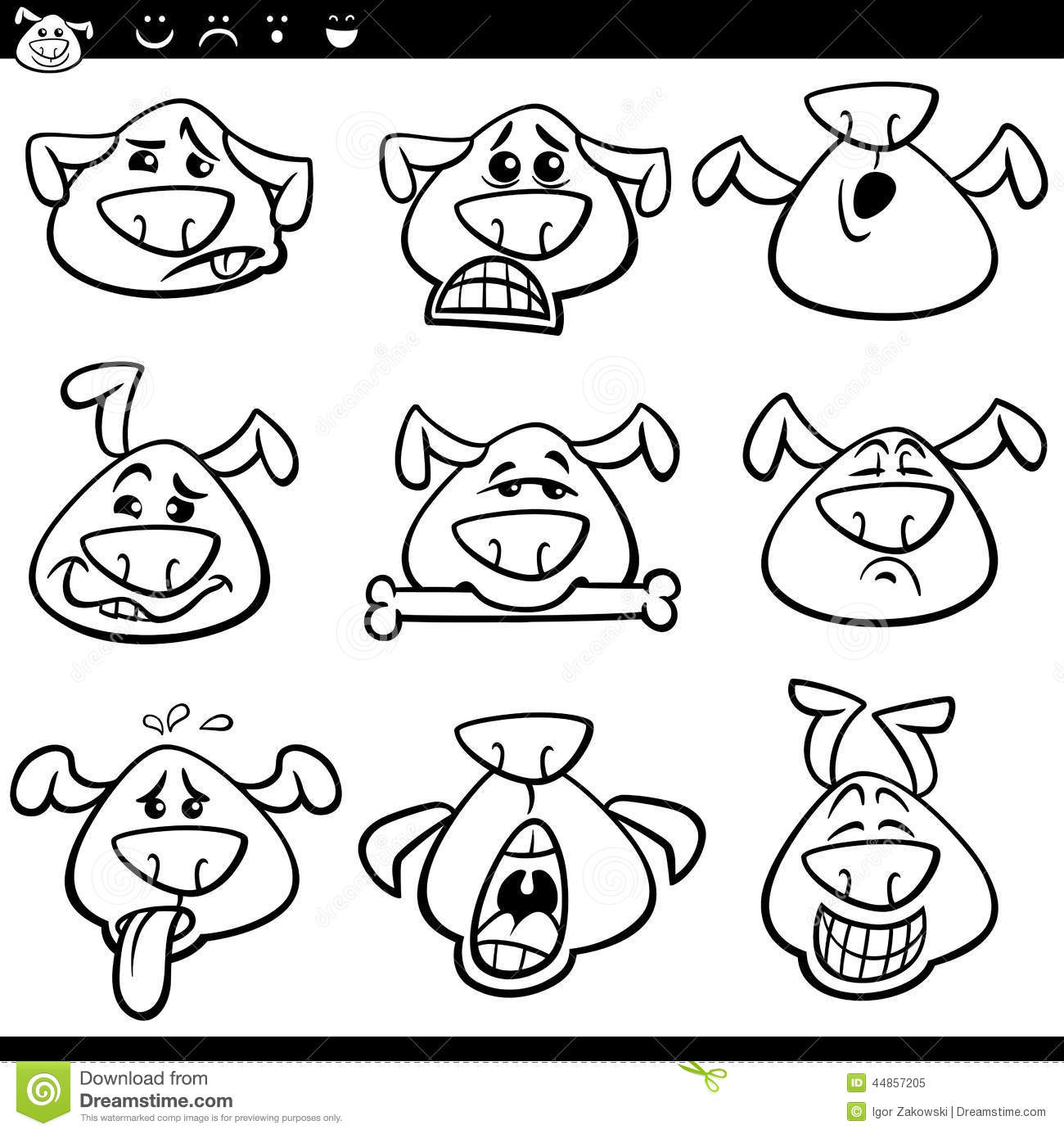 Dog Emoticons Cartoon Coloring Page Stock Vector Illustration Of