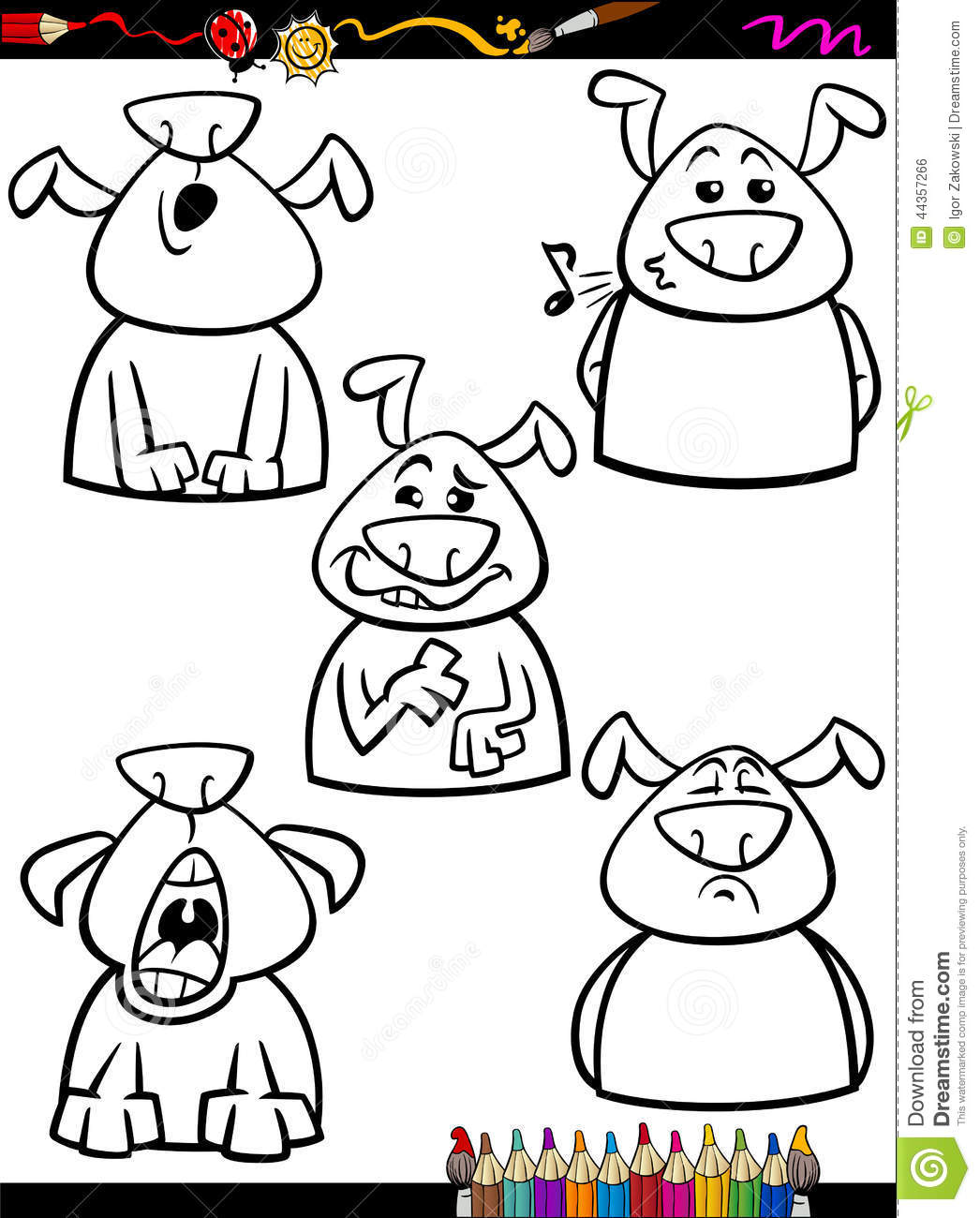 Free coloring pages emotions - Royalty Free Vector Download Dog Emotion Set Cartoon Coloring Page