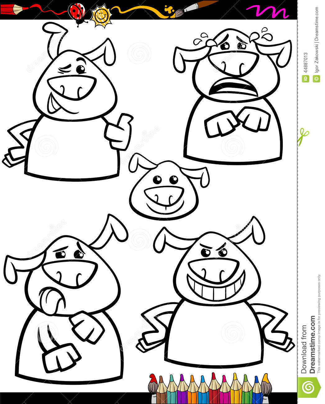 Free coloring pages emotions - Black Book Cartoon Coloring Dog Emotion Funny Illustration Page