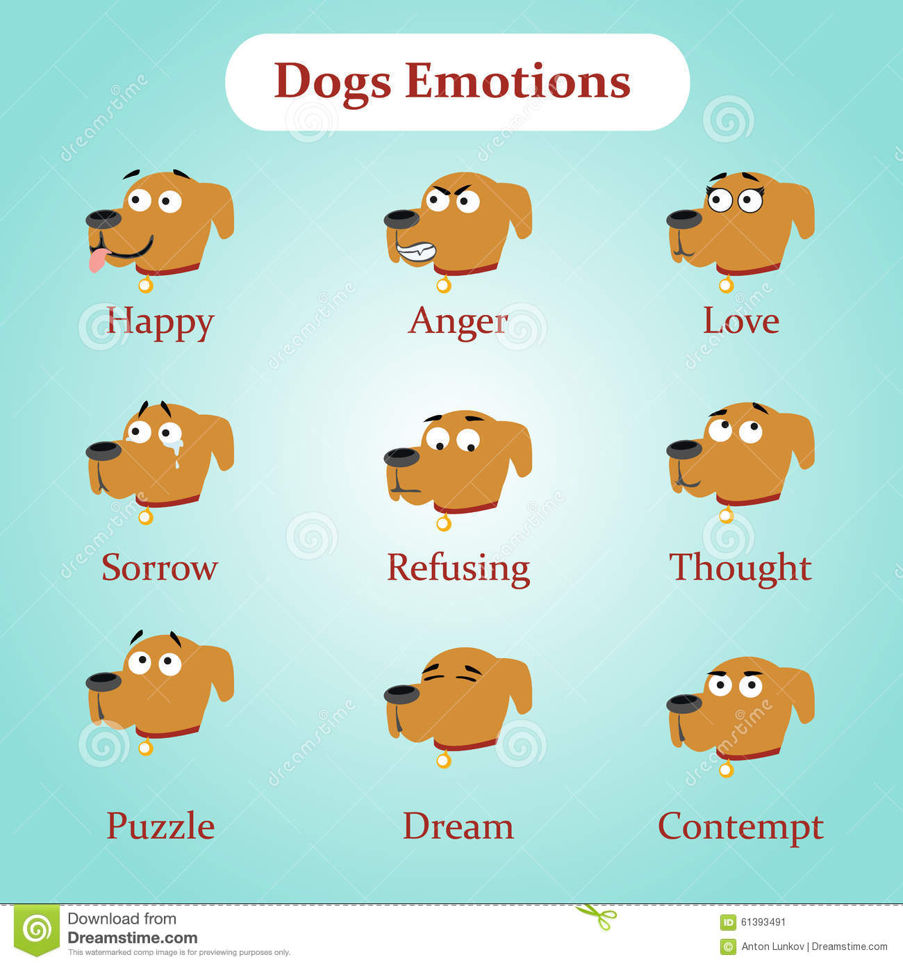 Dog Emotions: Happy, Anger, Love And Other Stock Vector ...