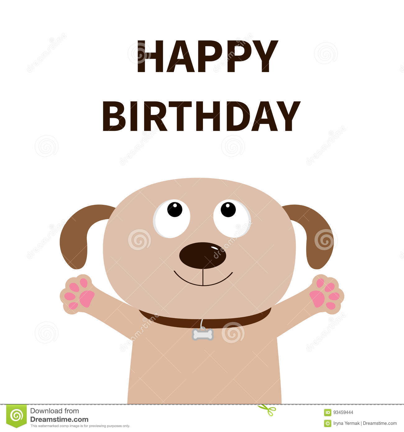 Dog Face Pet Collection Puppy Pooch Looking Up Paw Print Hug Happy Birthday Greeting Card Flat Design Cute Cartoon Funny Ch Stock Vector Illustration Of Concept Cute 93459444