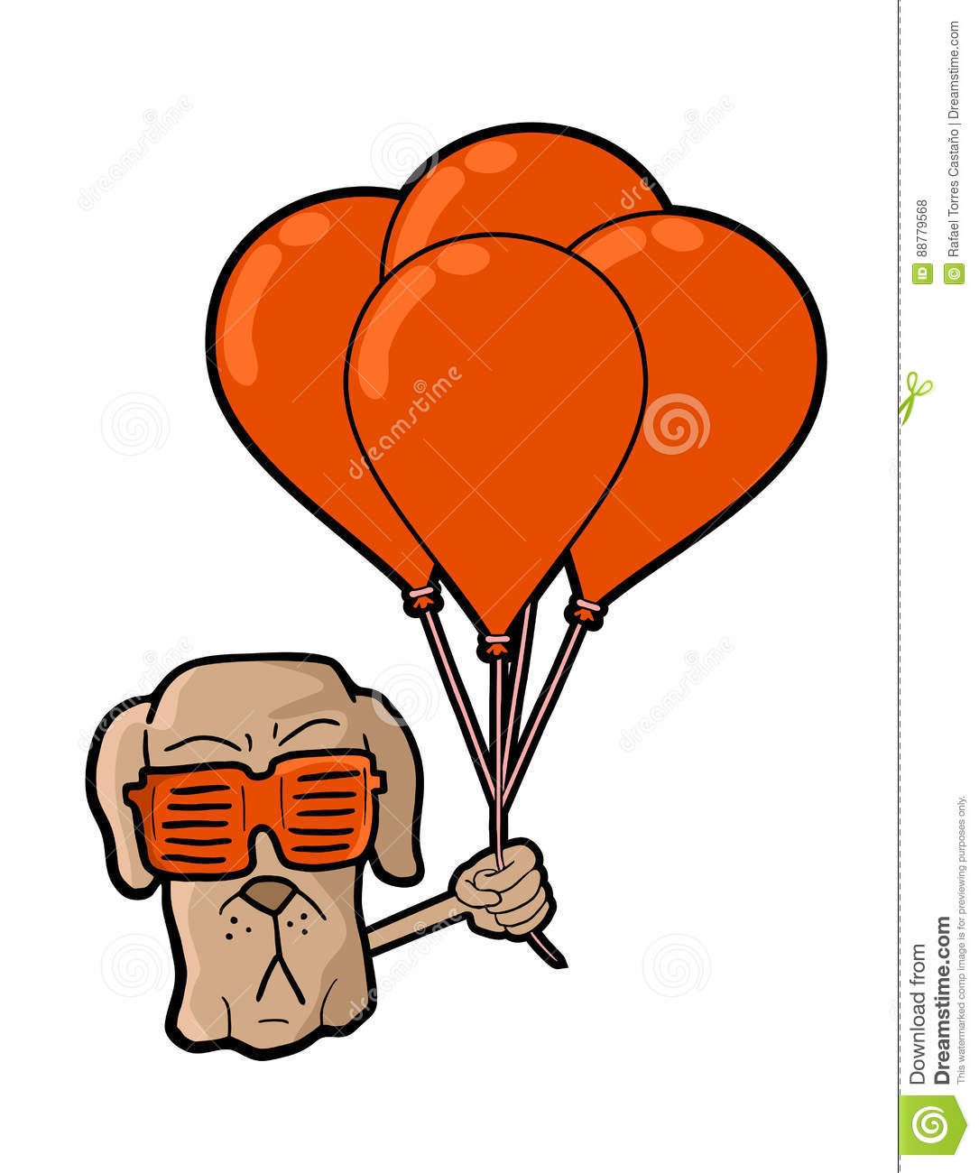 Dog Face With Red Balloons Stock Vector - Image: 88779568