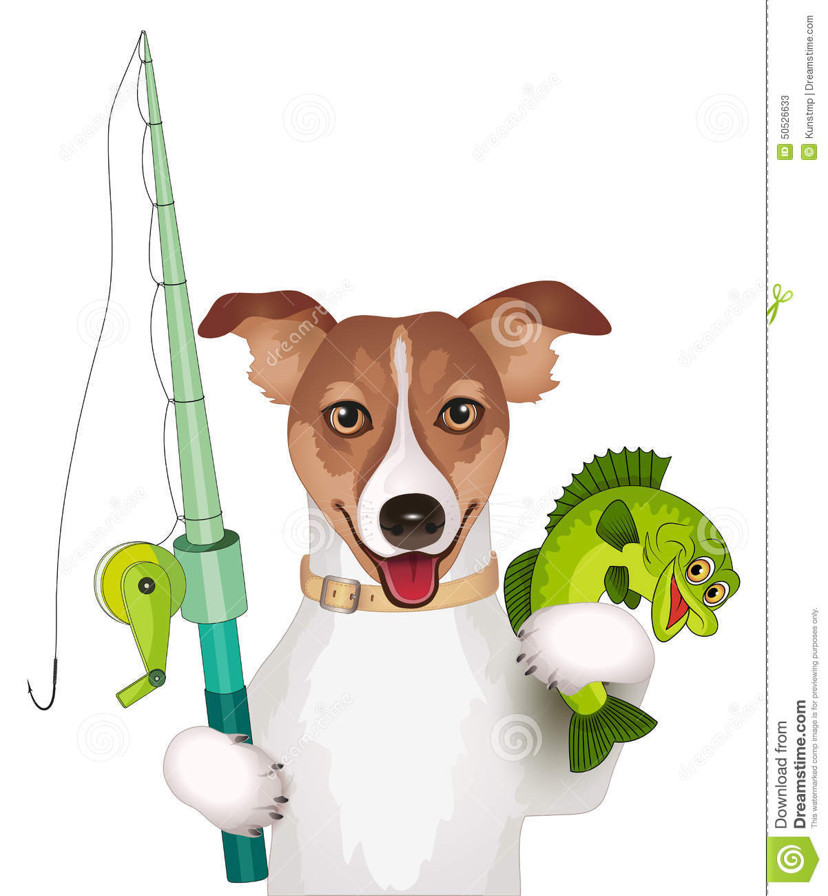 dog with fishing pole and fish stock vector - image: 50526633, Fishing Rod