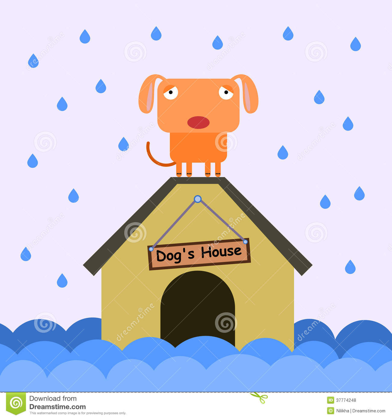 Dog And Flood Stock Illustration Of Water
