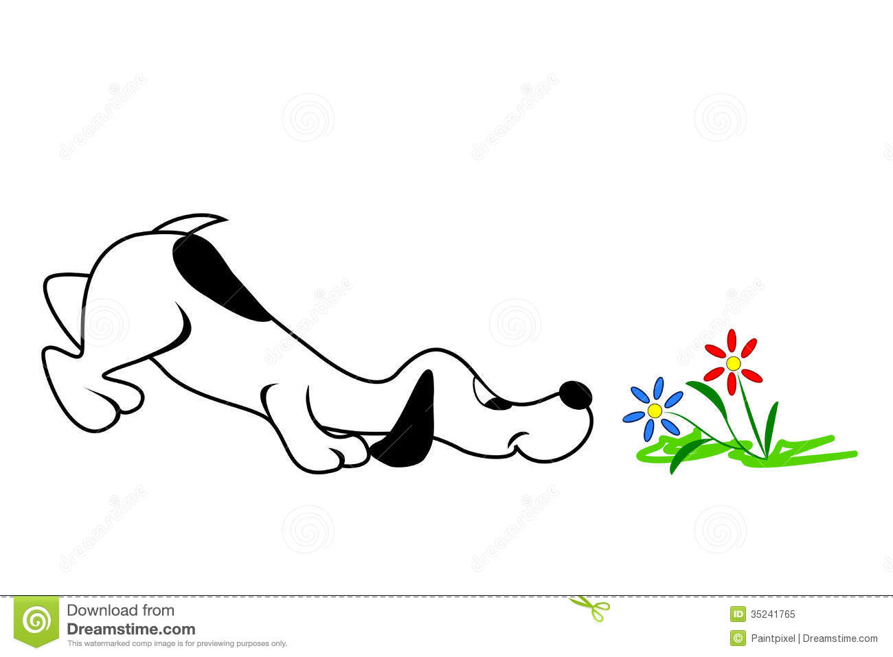 Dog And Flowers stock vector Illustration
