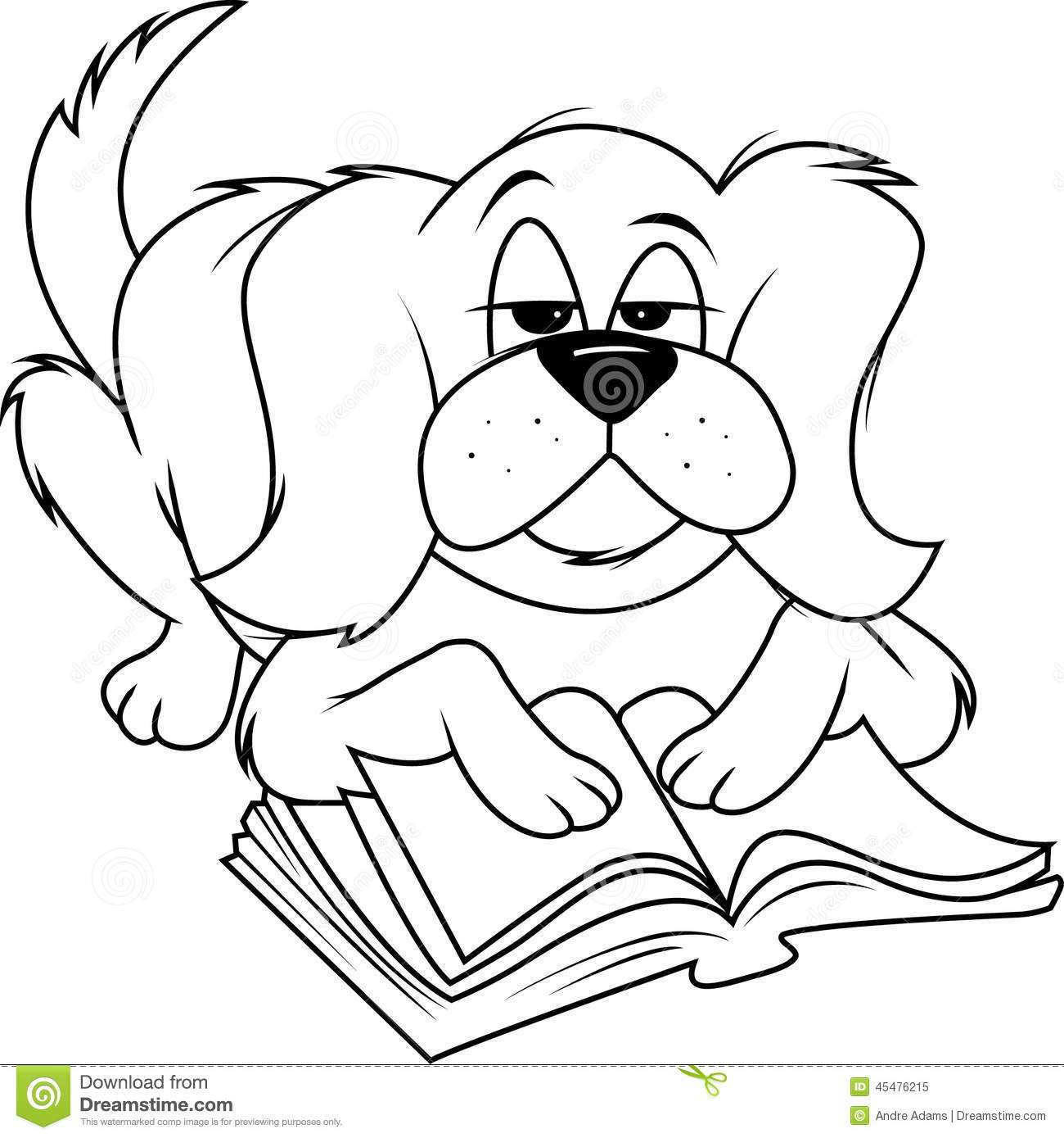 dog fluffy reading bw stock illustration. illustration of cartoon