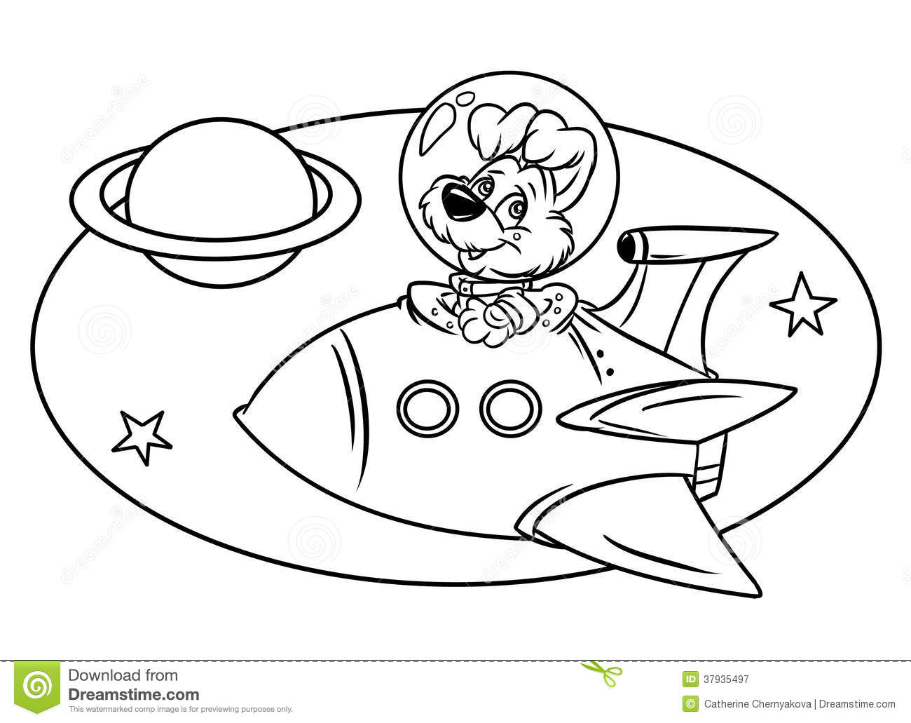 Dog Flying In Space Rocket Stock Illustration