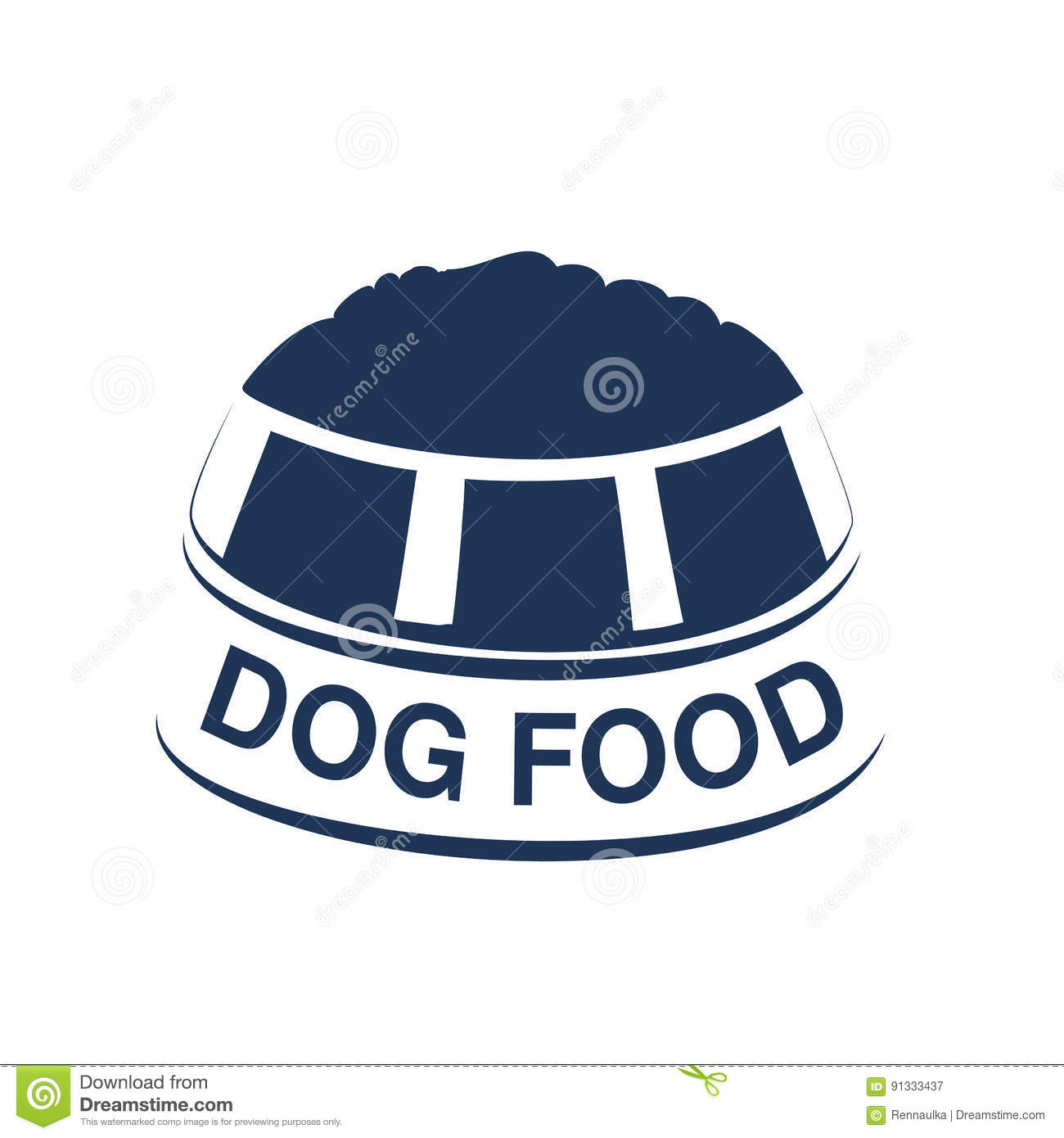 Dog Food Label With Silhouette Of A Bowl Of Feed Dog Food Symbols