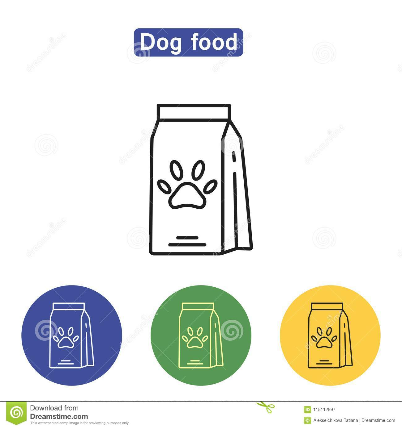 Dog Food Line Icon Stock Vector Illustration Of Pedigree 115112997