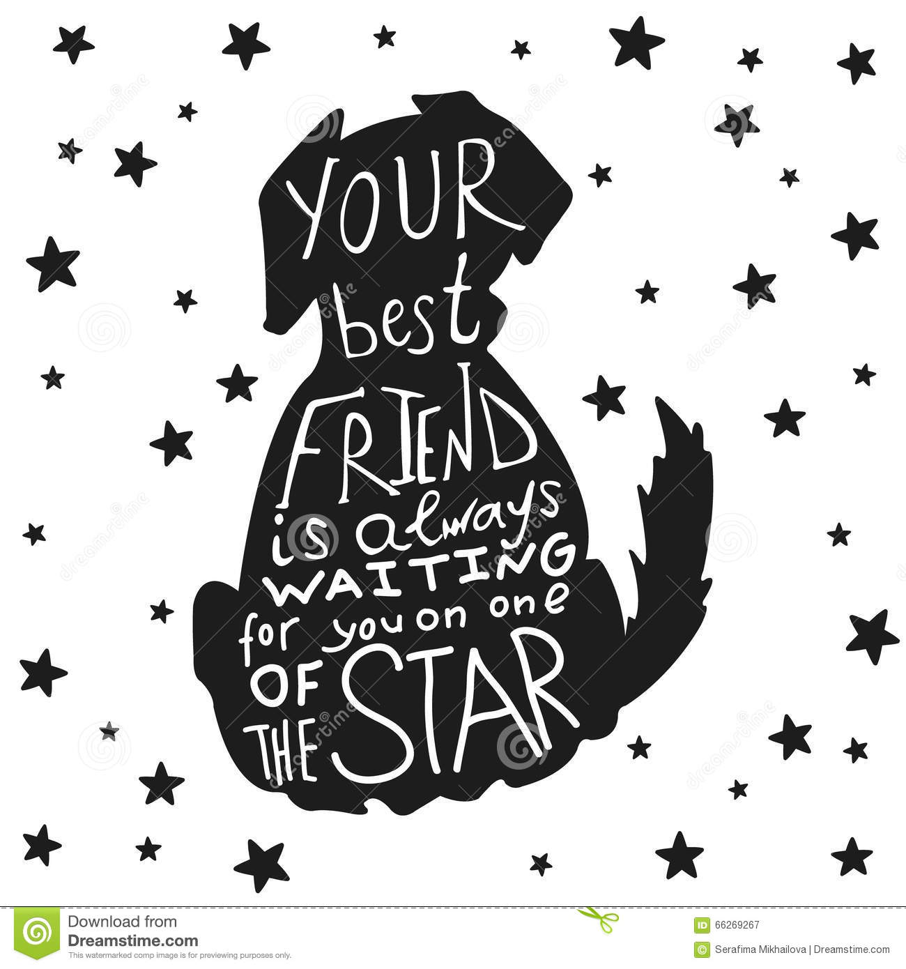 Dog Friends Grungy Card For Friendship Day With Quote Stock Vector