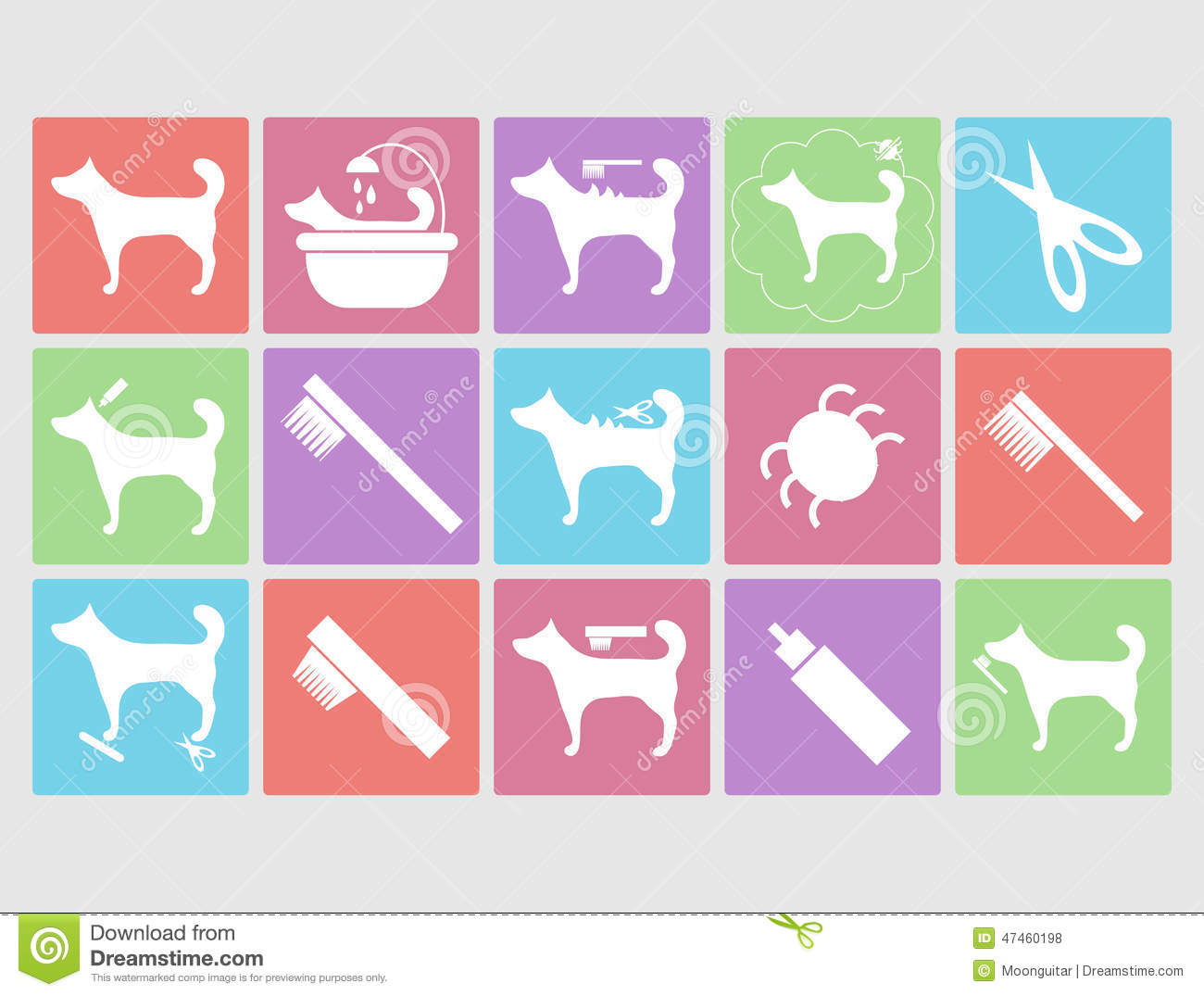 Dog Grooming Icons Set Stock Vector Image 47460198