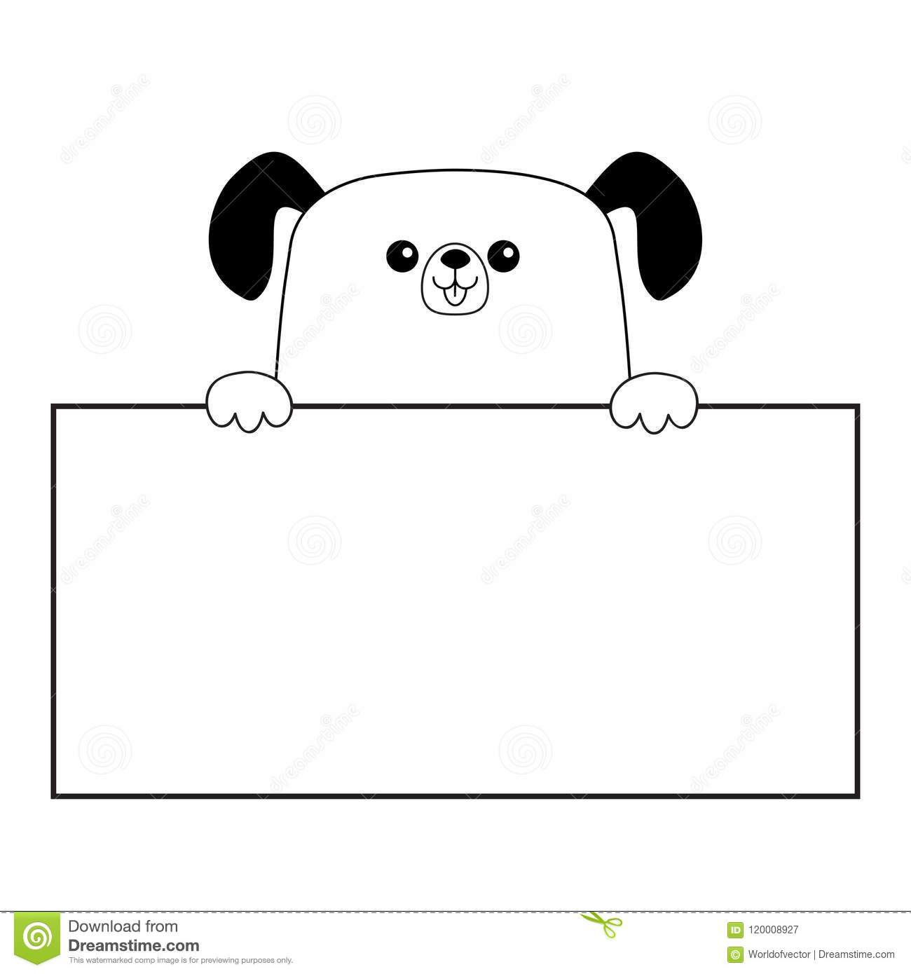 Dog Happy Head Face Silhouette Hanging On Paper Board Template Hands Paw Contour Line