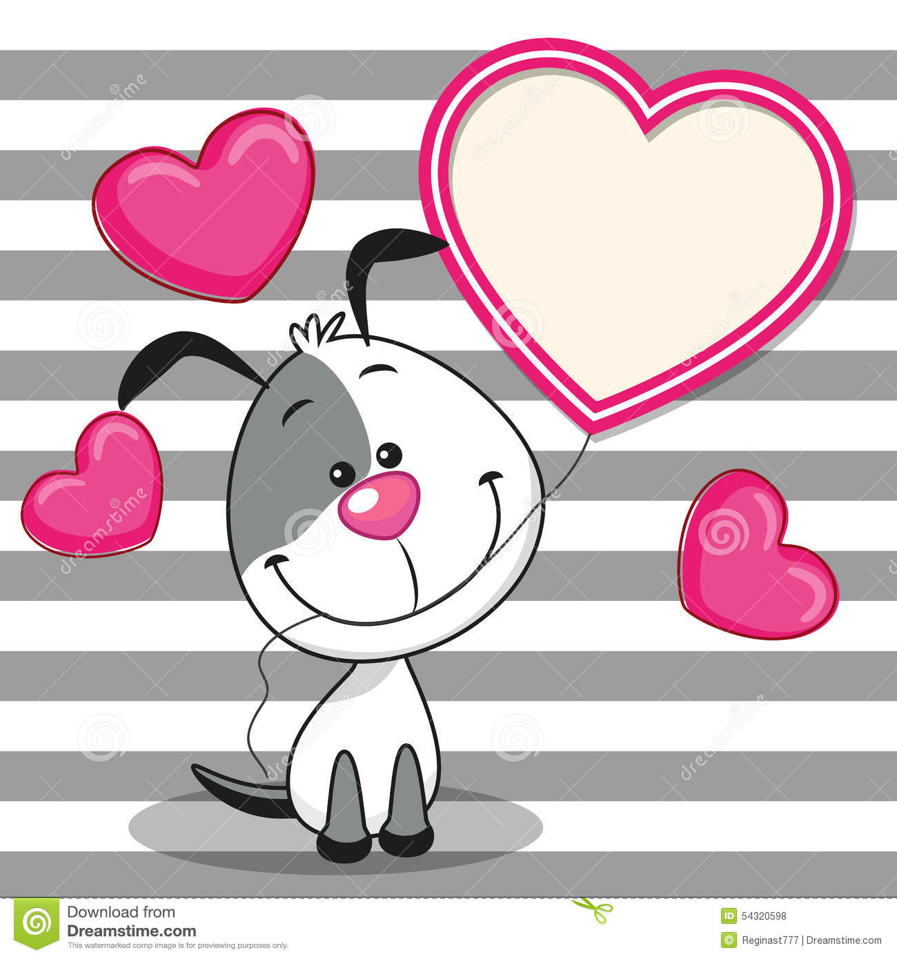Dog with heart frame