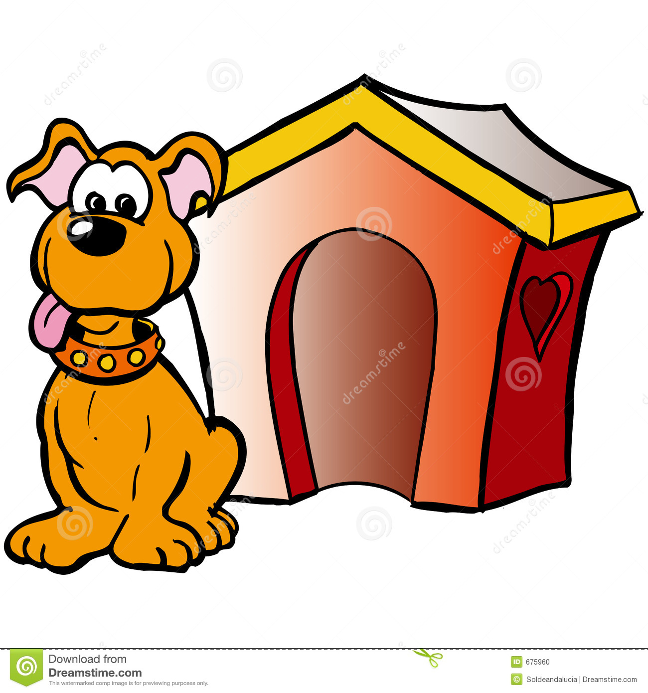 Illustration of a funny dog in front of his house.