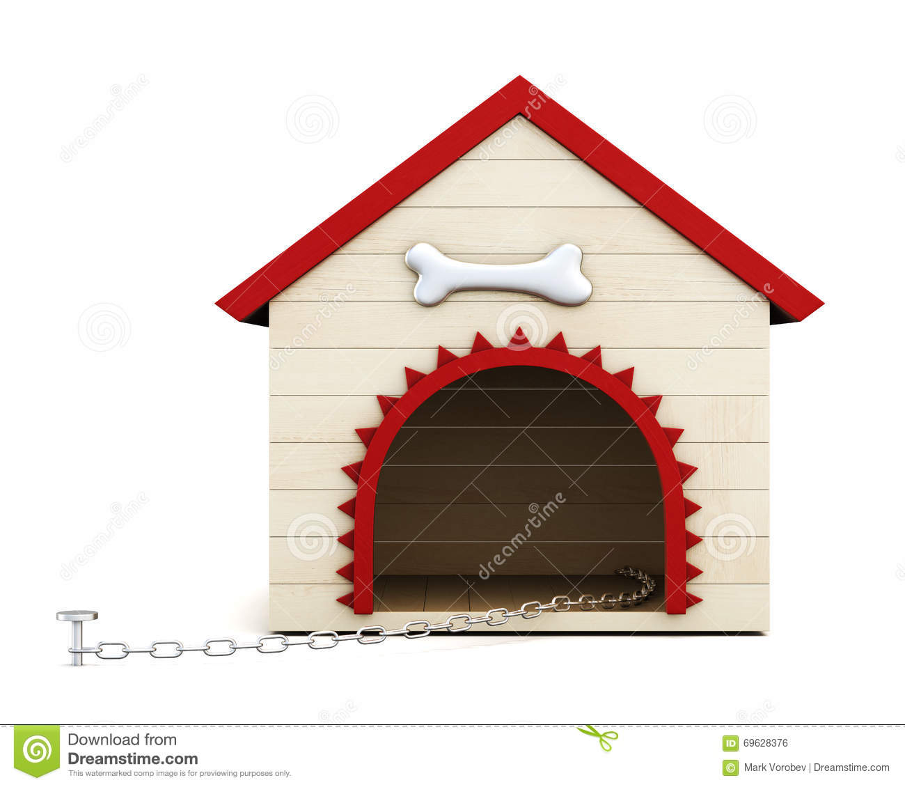 Dog House With Chain On White Background 3d Rendering Stock
