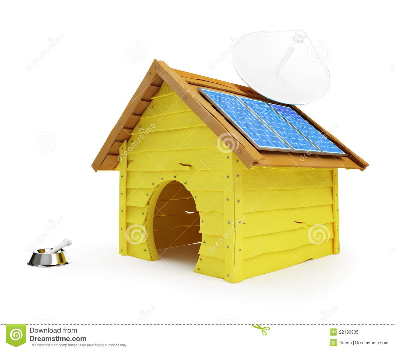 Dog House With Solar Panels And Antenna Royalty Free Stock