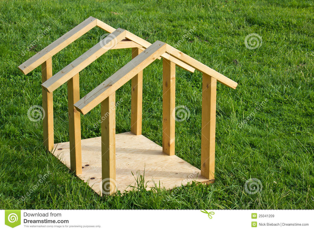Dog house wood frame stock image image of clean for Build a house online free