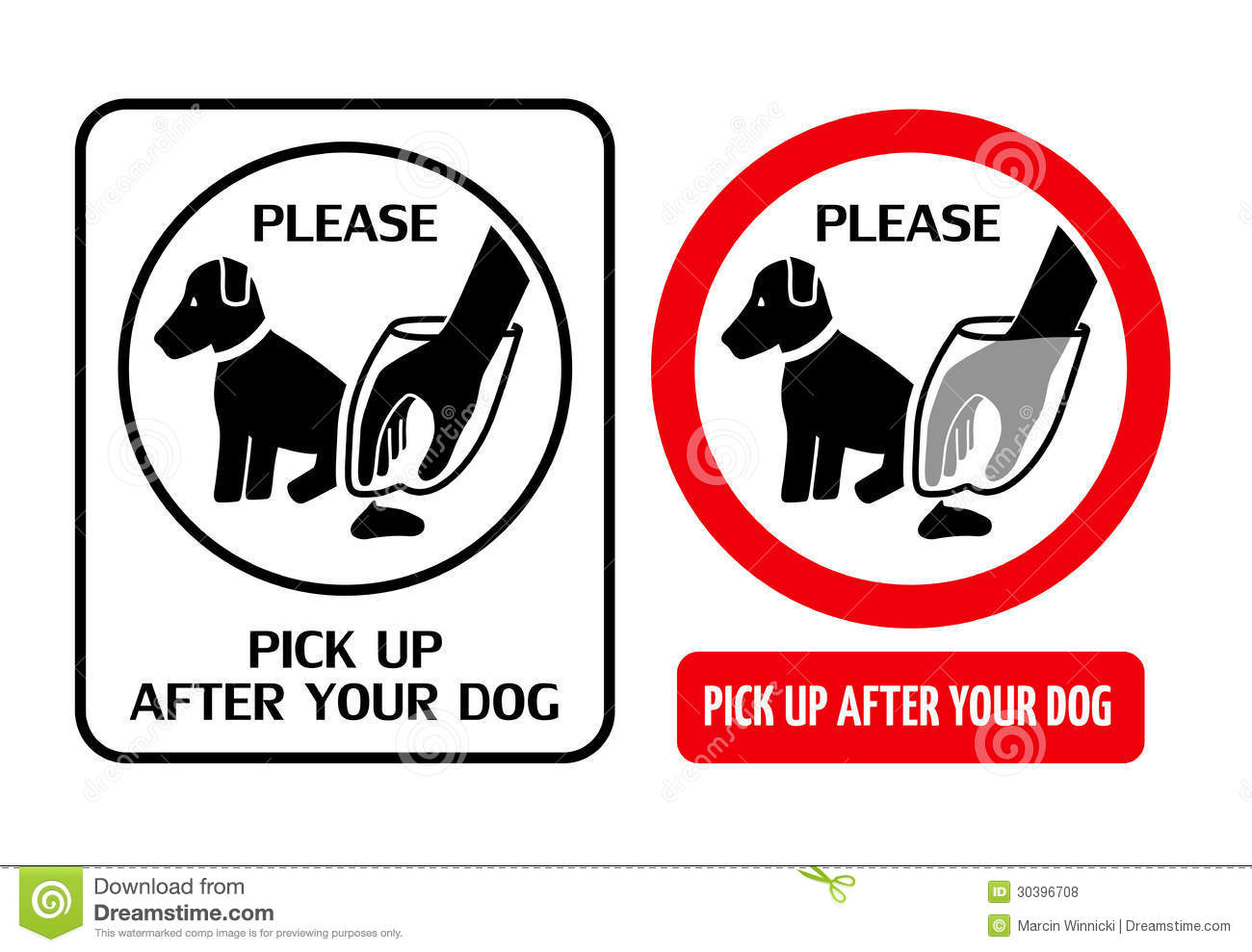 Two signs telling dog owners to pick up after your dog. .