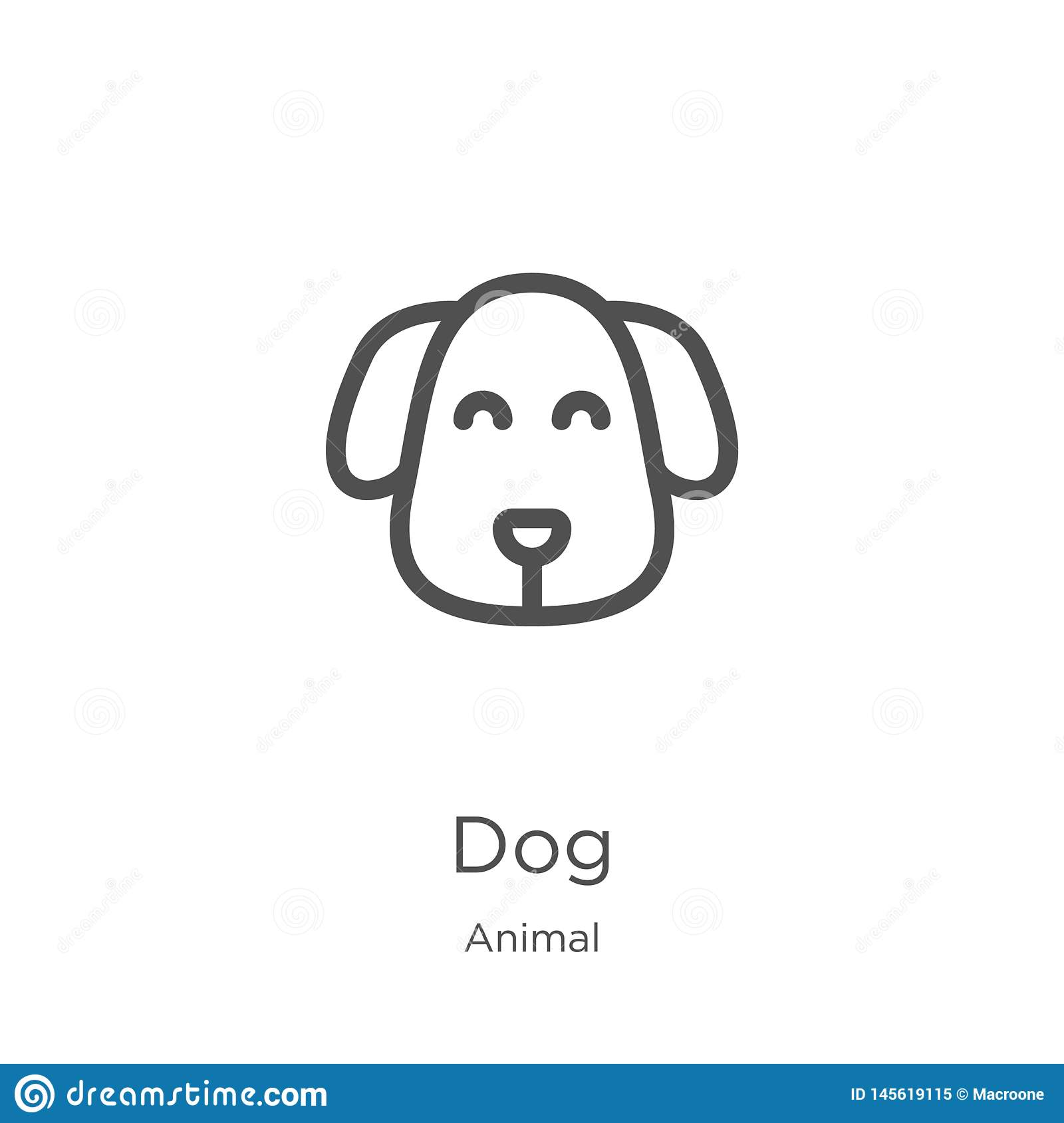 dog icon vector from animal collection. Thin line dog outline icon vector illustration. Outline, thin line dog icon for website